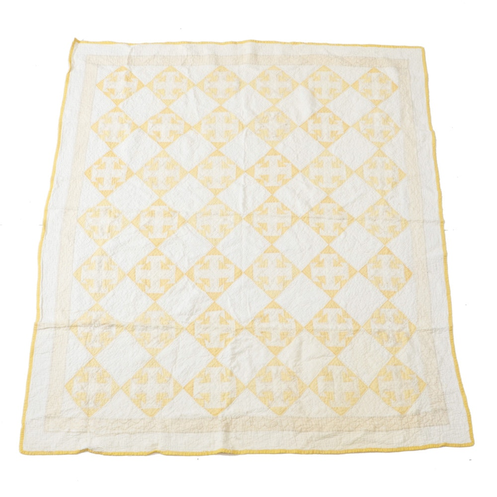 Vintage Cotton and Yellow Diamond Patchwork Quilt
