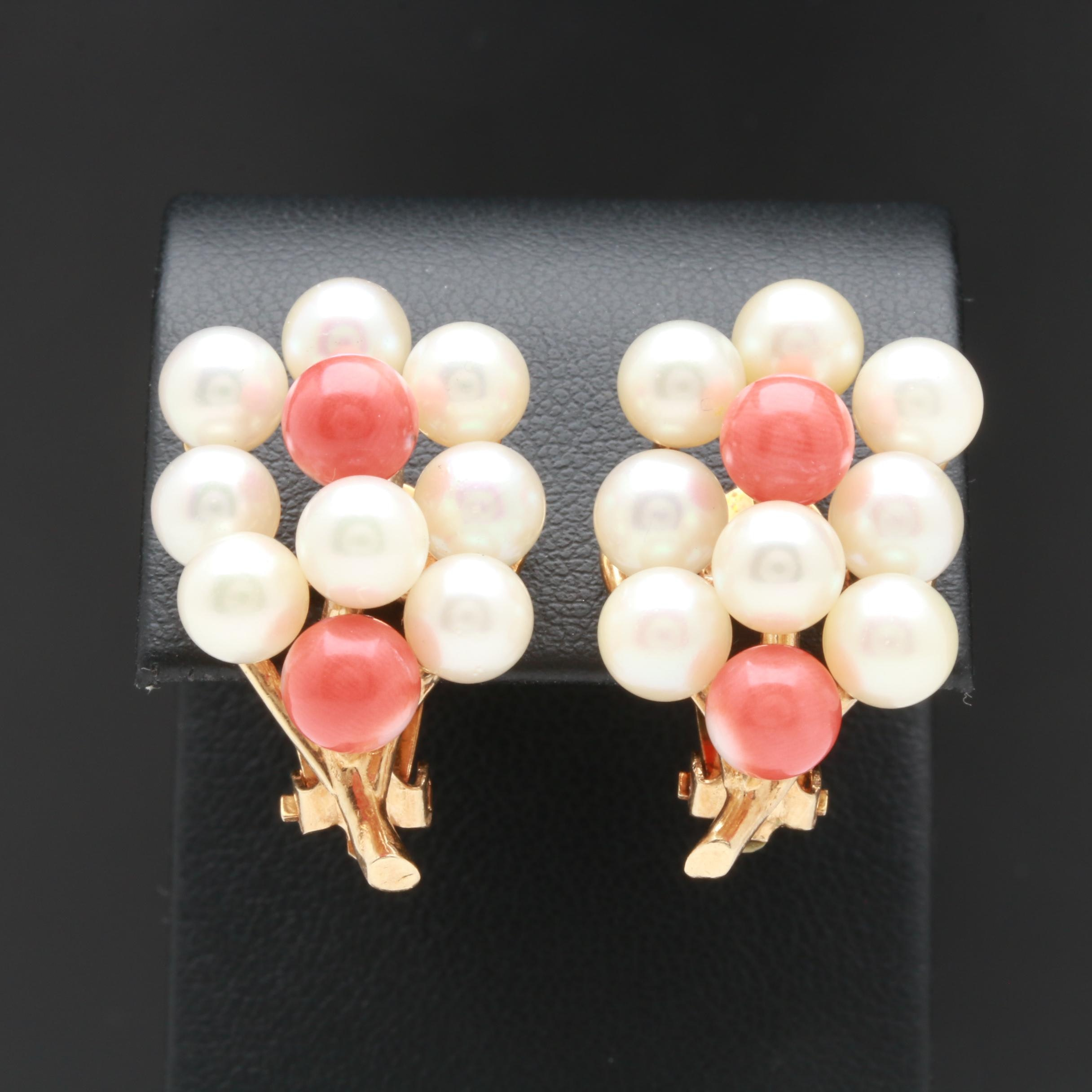 14K Yellow Gold Coral and Cultured Pearl Earrings
