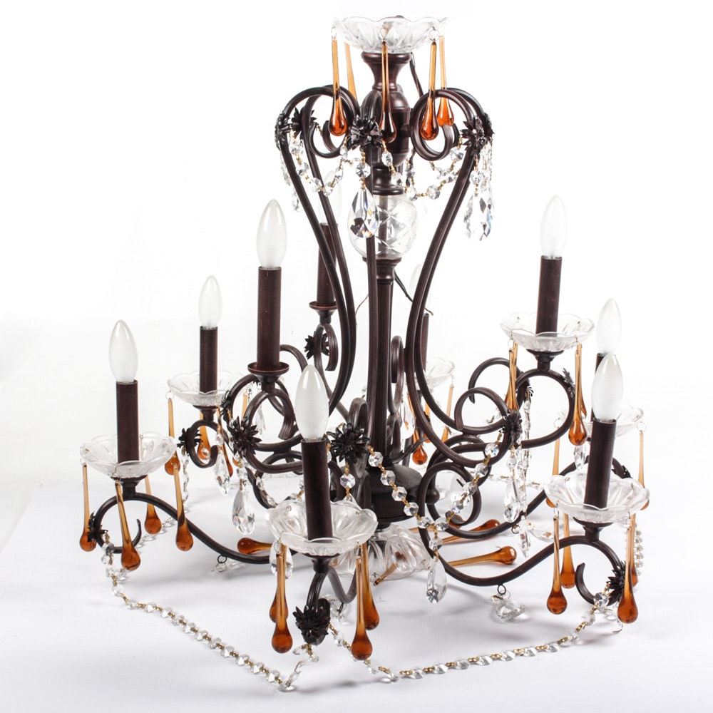 Wrought Metal Chandelier with Crystal and Glass Pendants