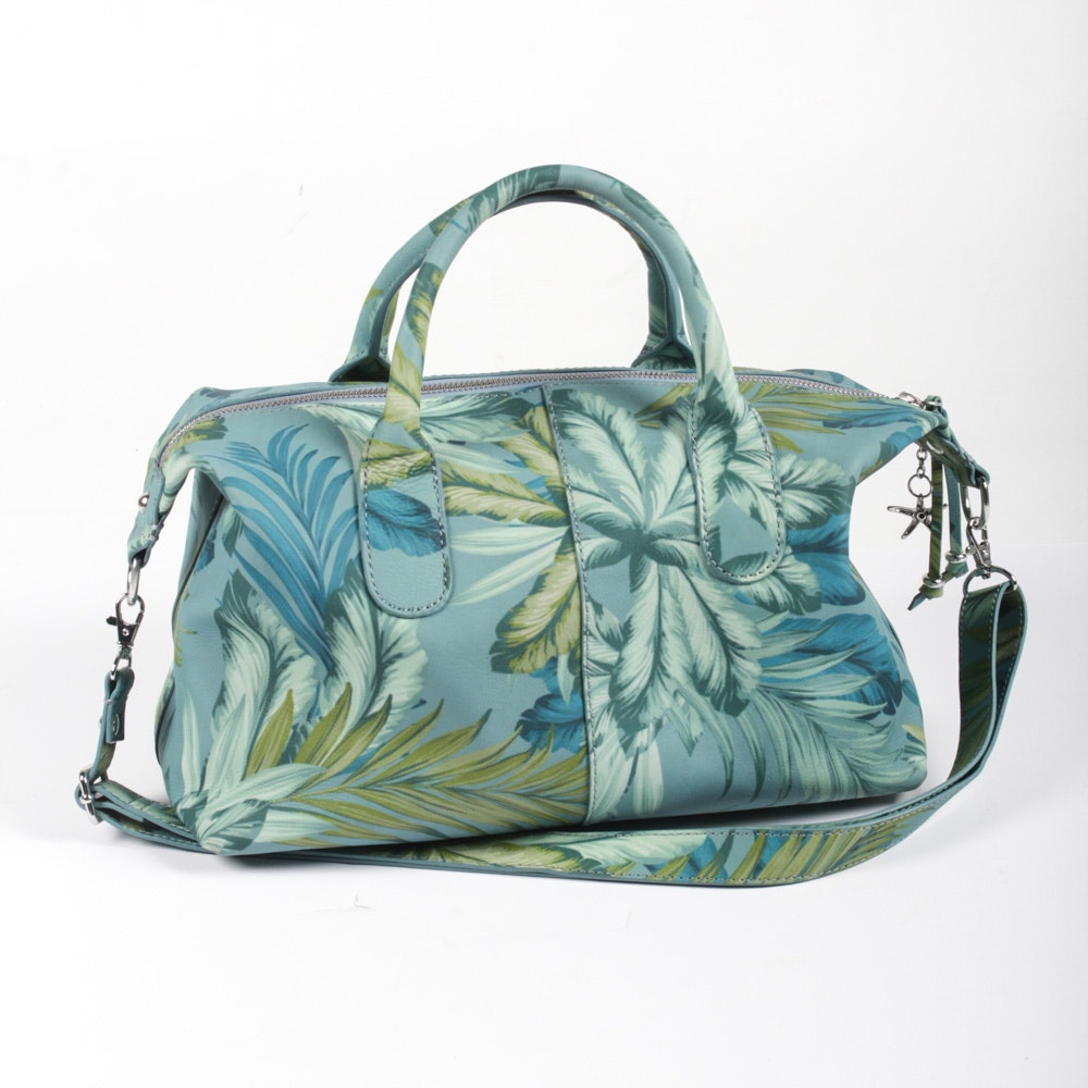 Tommy Bahama Palm Leaf Printed Leather Satchel and Pouch