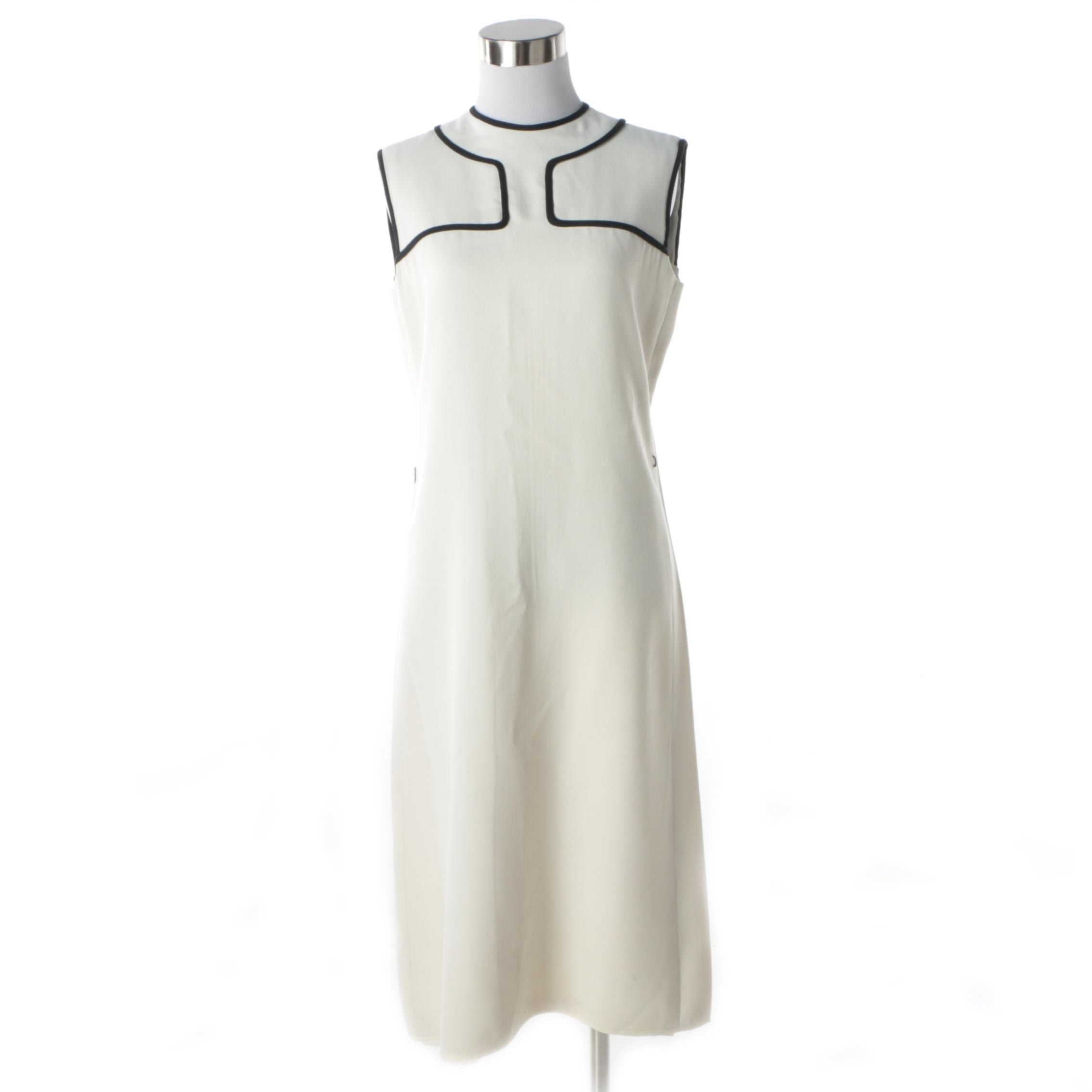 1960s Vintage Donald Brooks Cream Mod Shift Dress with Geometric Black Piping
