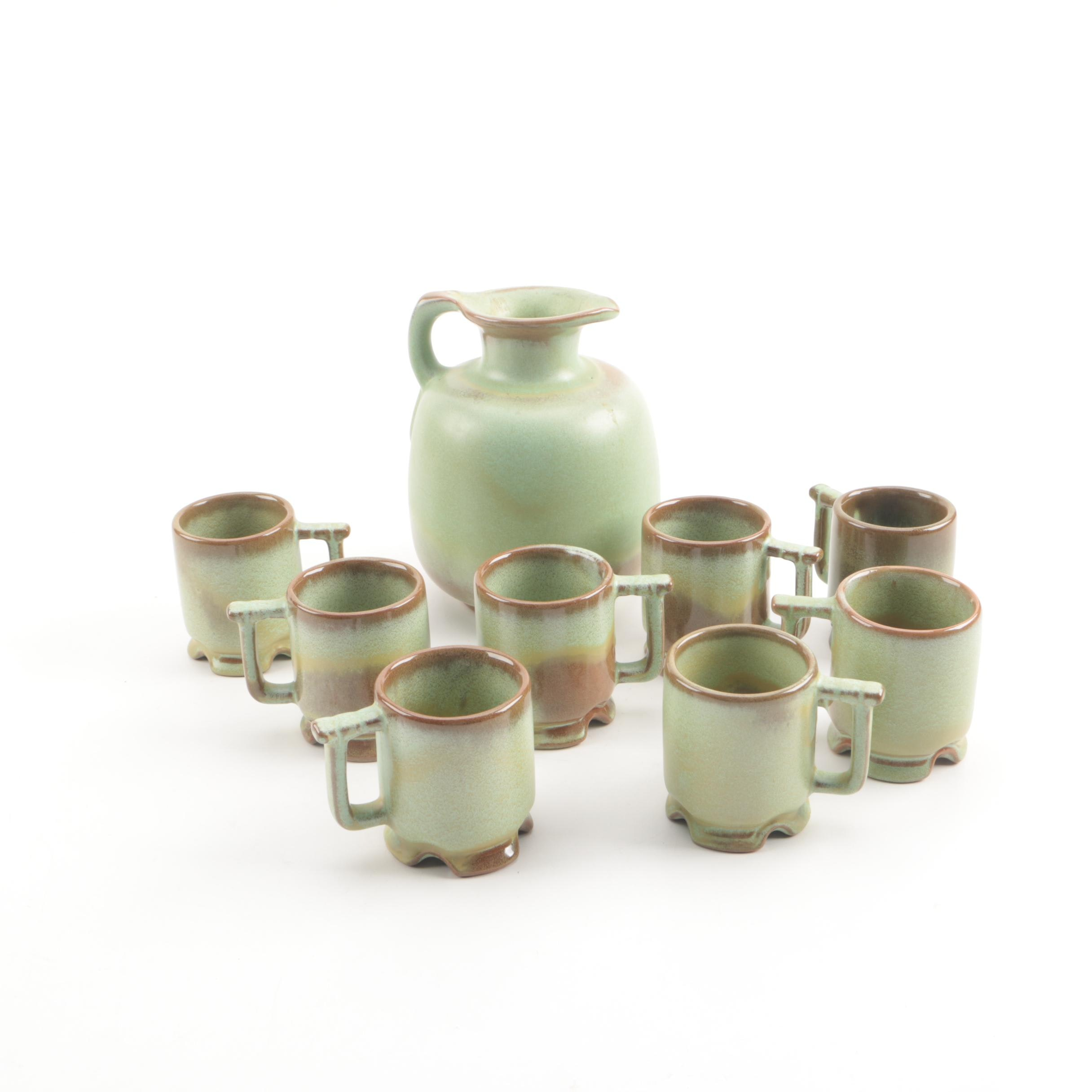 Frankoma Pottery Pitcher and Demitasse Cups in Plainsman Green