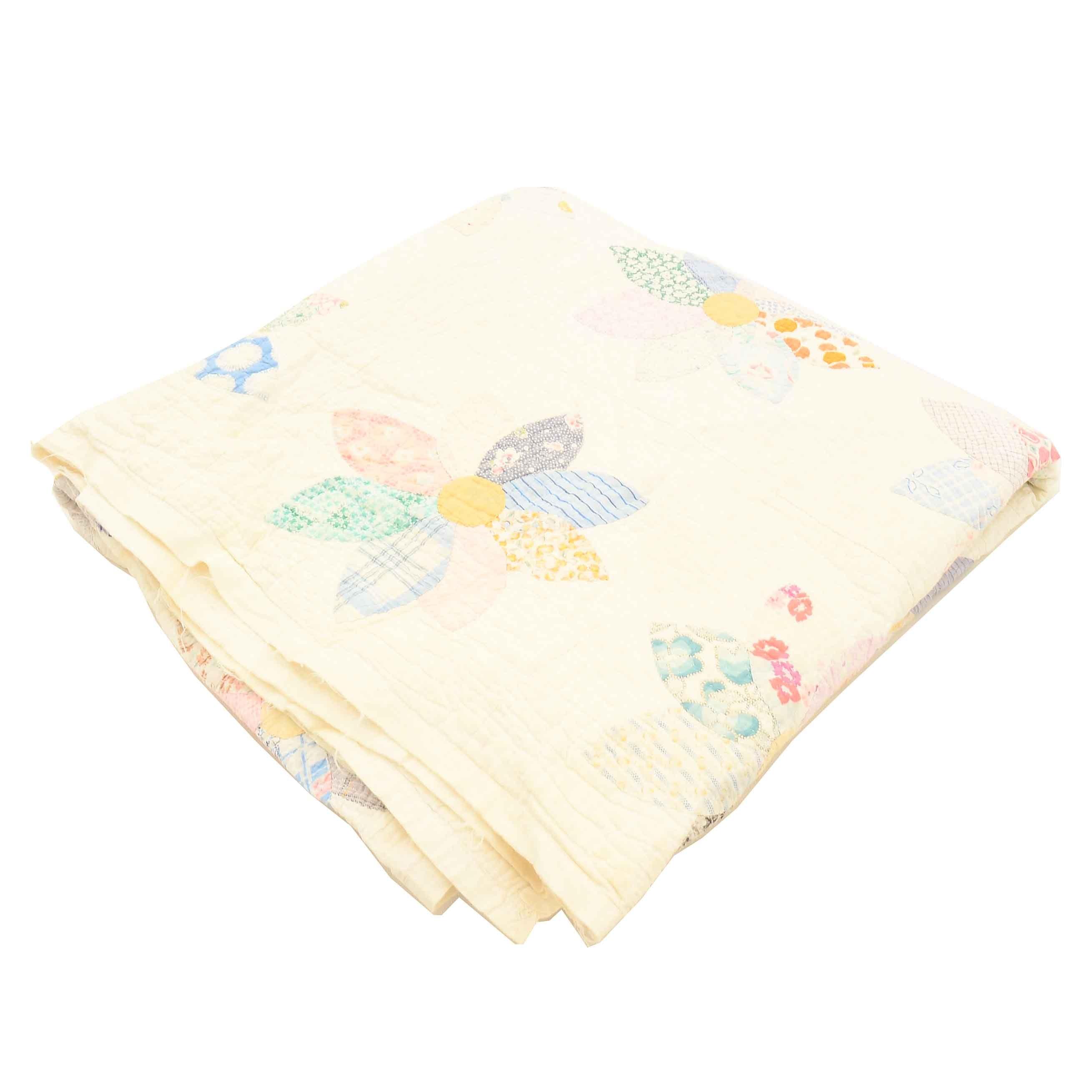 Vintage Cotton and Multi-Color Floral Patchwork Quilt