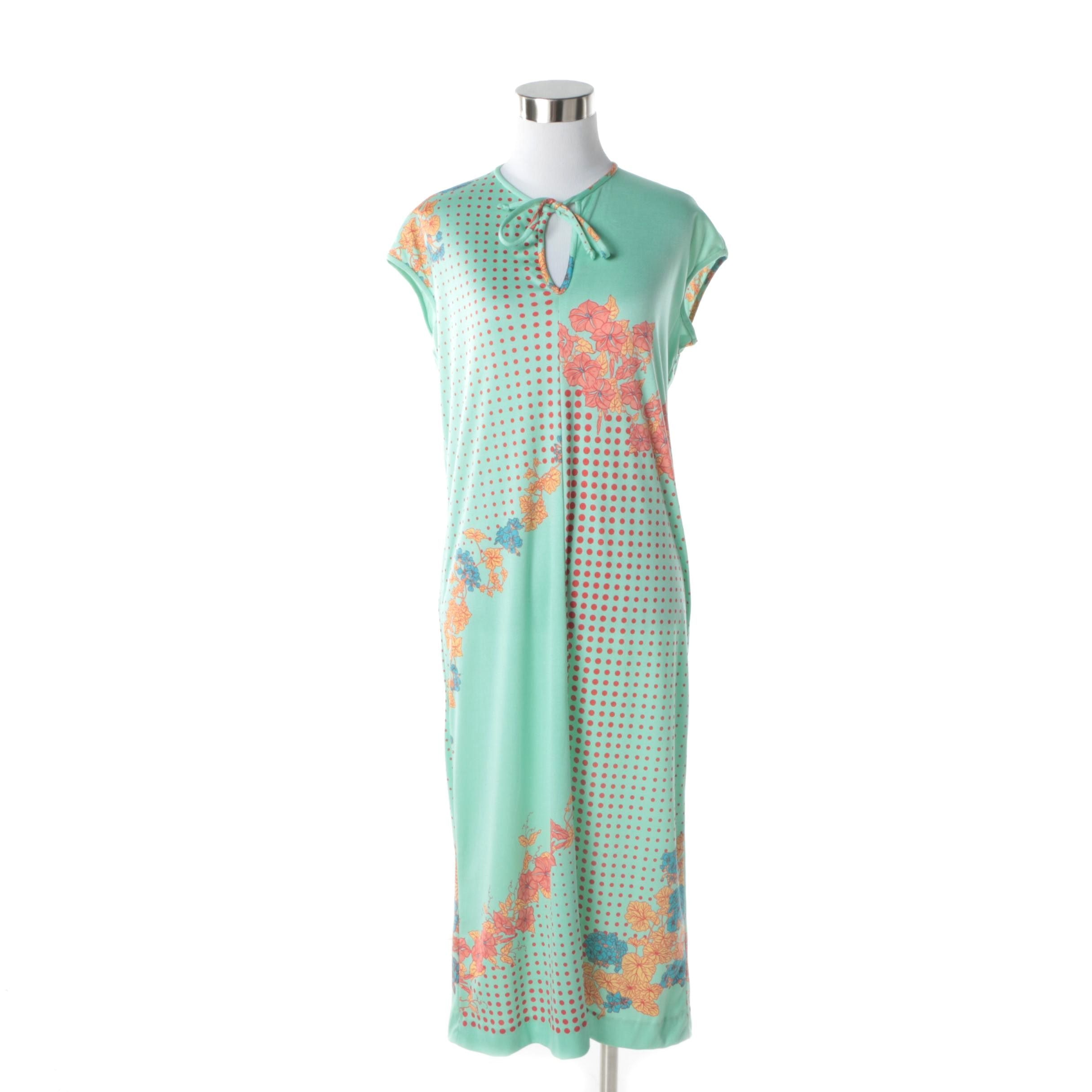 1970s Vintage Paganne Mint Graphic Floral Midi Dress