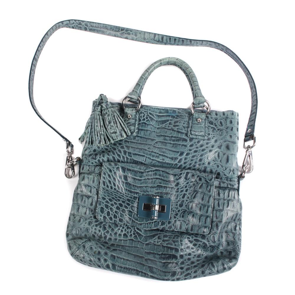 Talbots Embossed Alligator Skin Blue Leather Handbag