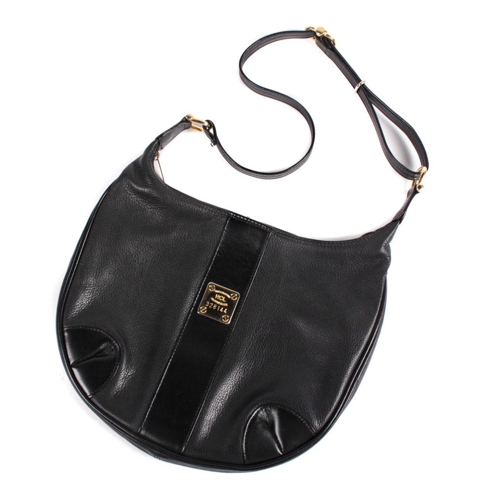 HCL of Germany Handcrafted Black Leather Shoulder Bag Purse