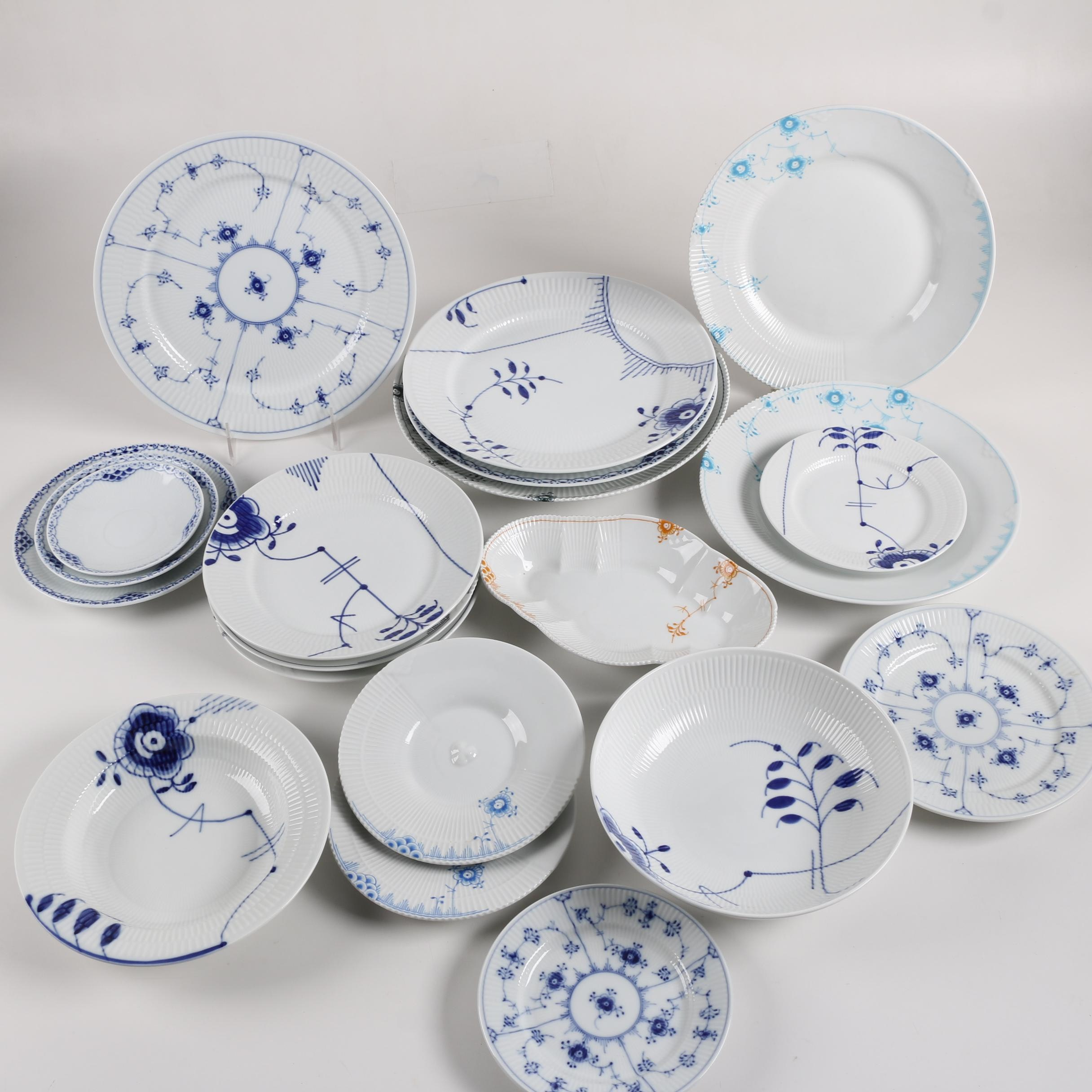 Vintage and Contemporary Royal Copenhagen Porcelain Dinnerware and Serveware