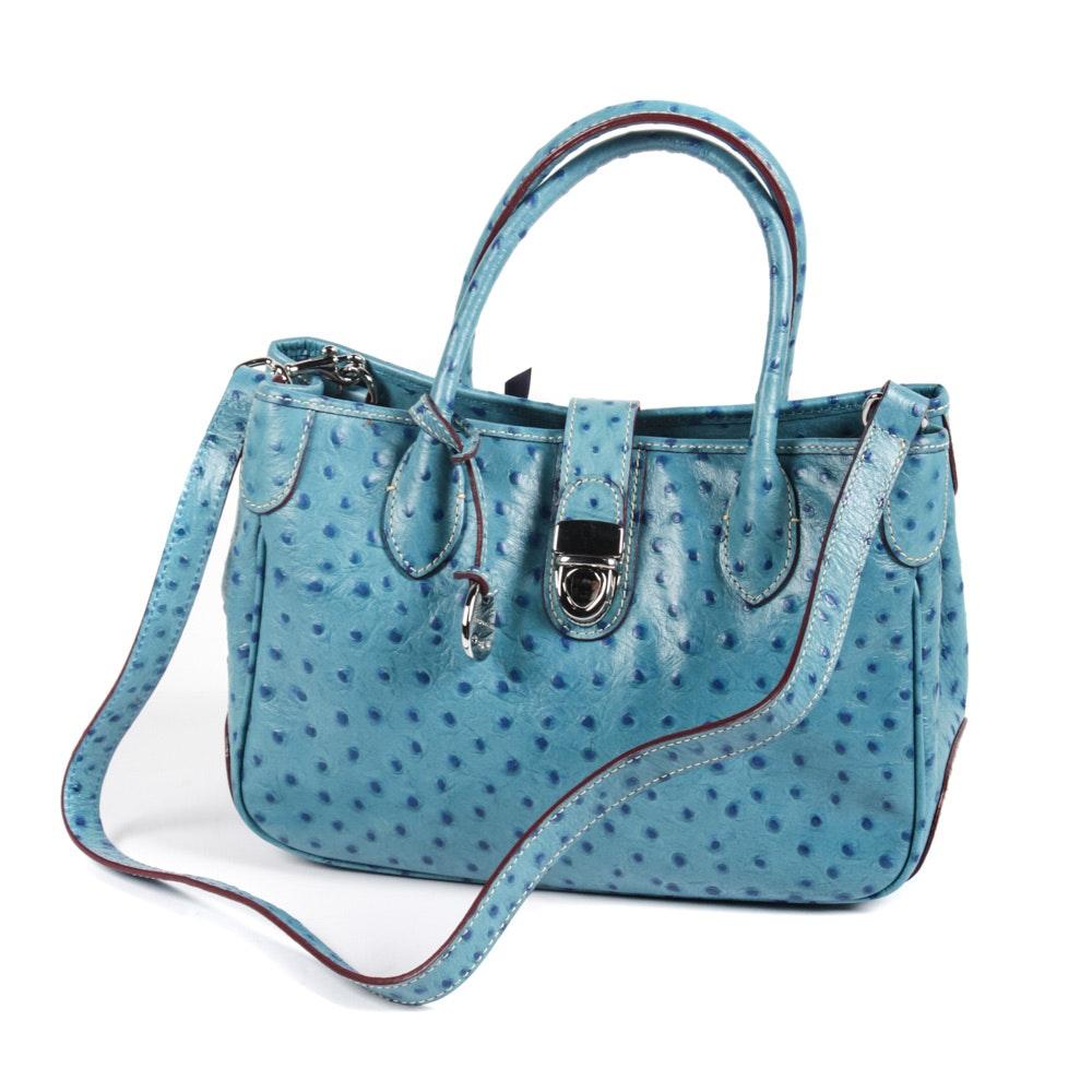 Dooney & Bourke Ostrich Skin Embossed Blue Leather Handbag