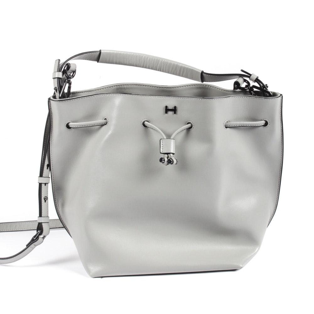 H by Halston Leather Drawstring Bucket Bag