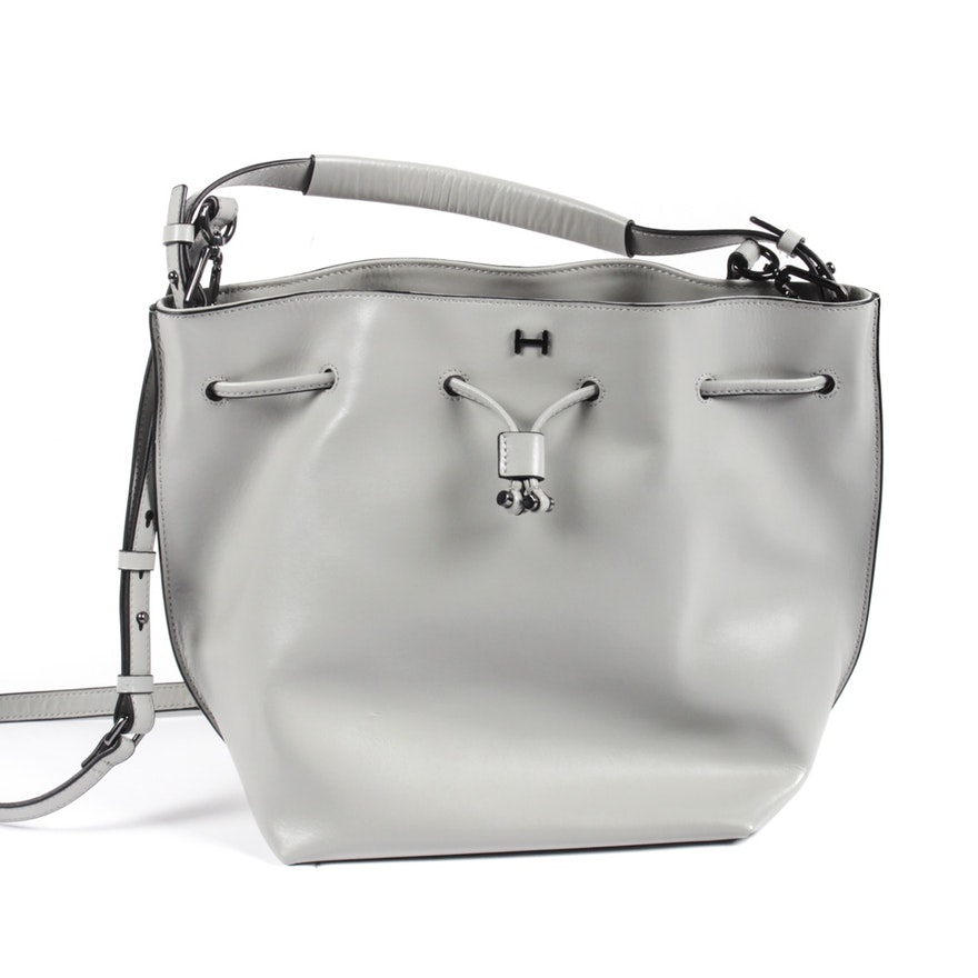 H by Halston Leather Drawstring Bucket Bag   EBTH e4fe68b4ef5dc