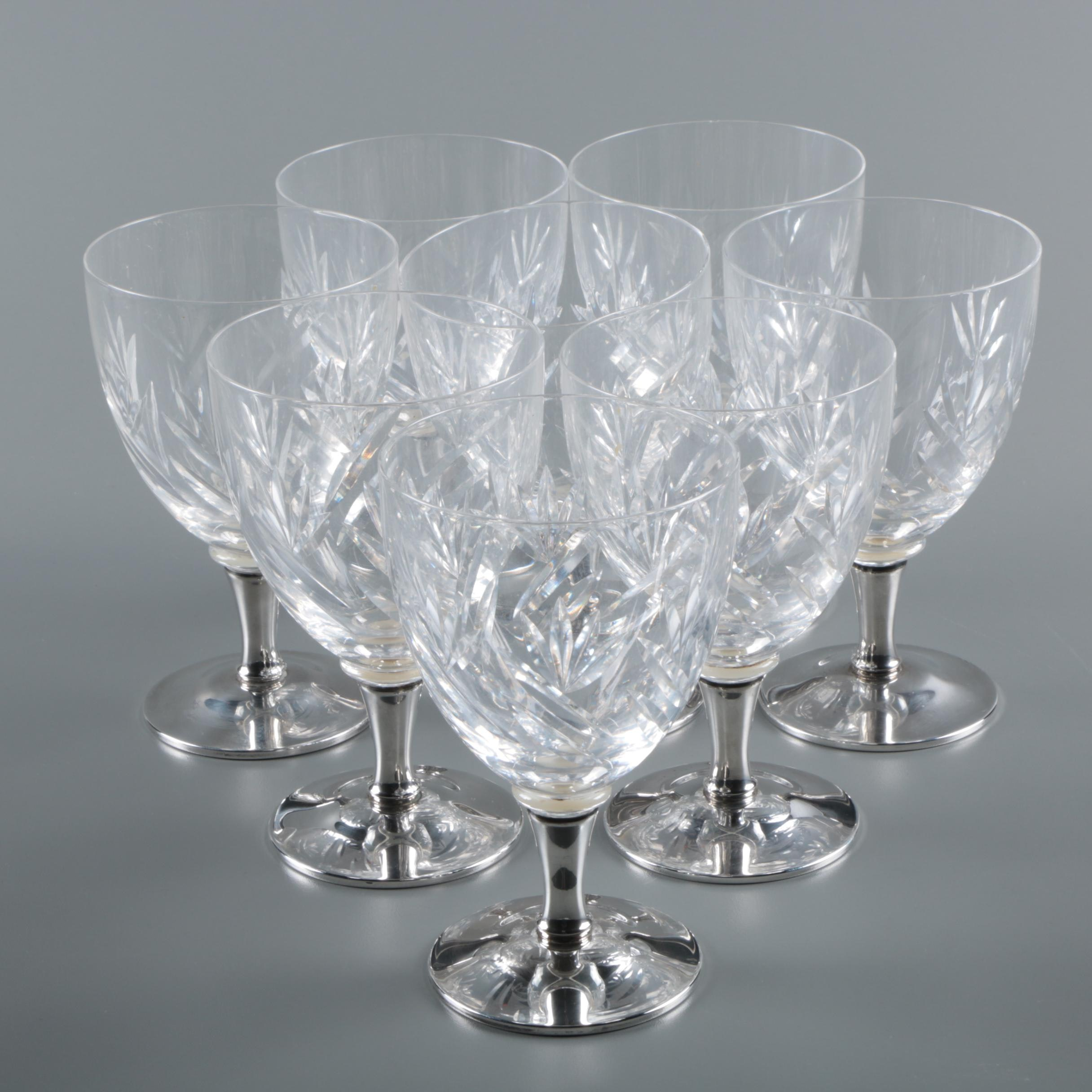 Vintage Gorham Crystal and Weighted Sterling Silver Water Goblets