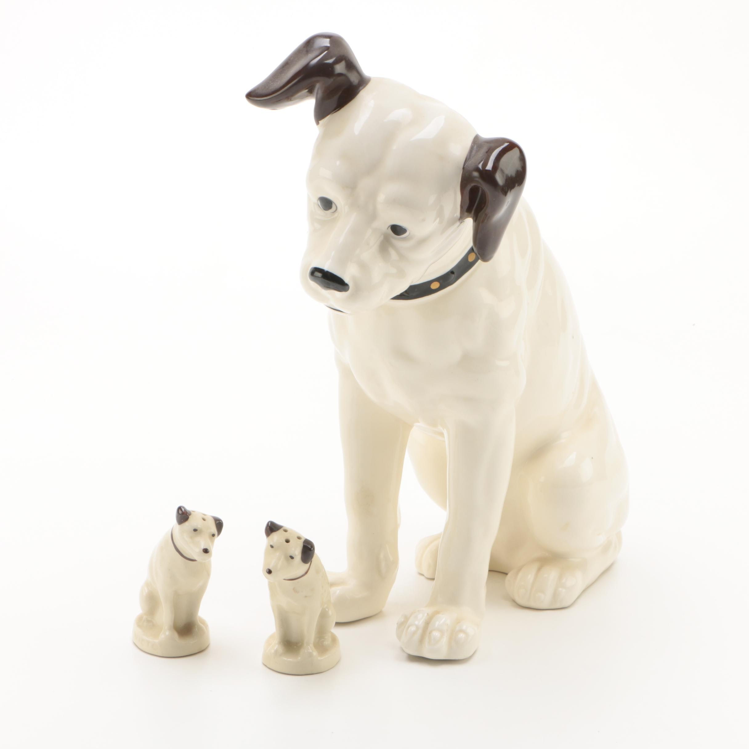 "Vintage RCA ""Nipper"" Dog Ceramic Coin Bank and Shakers"