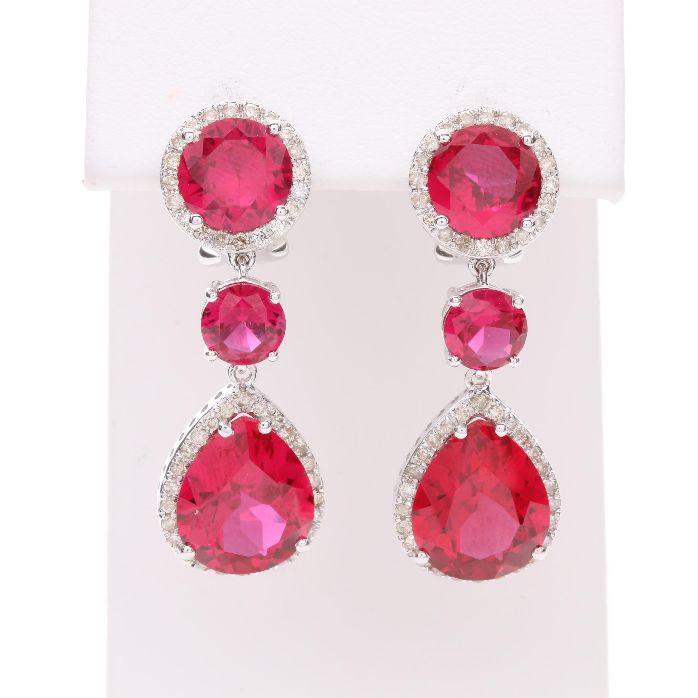 14K White Gold Synthetic Ruby and Diamond Earrings