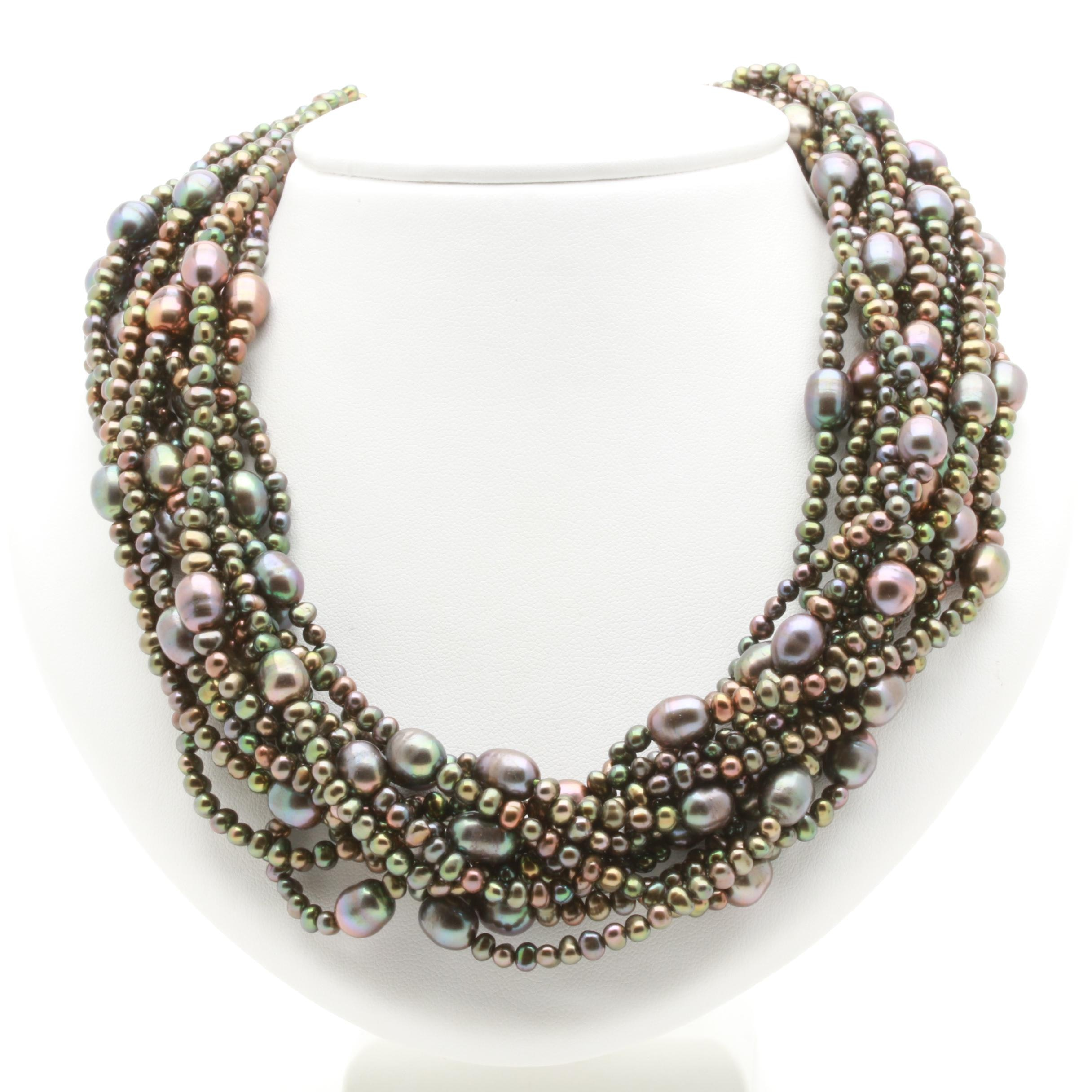 Sterling Silver Dyed Cultured Freshwater Pearl Twelve Strand Necklace