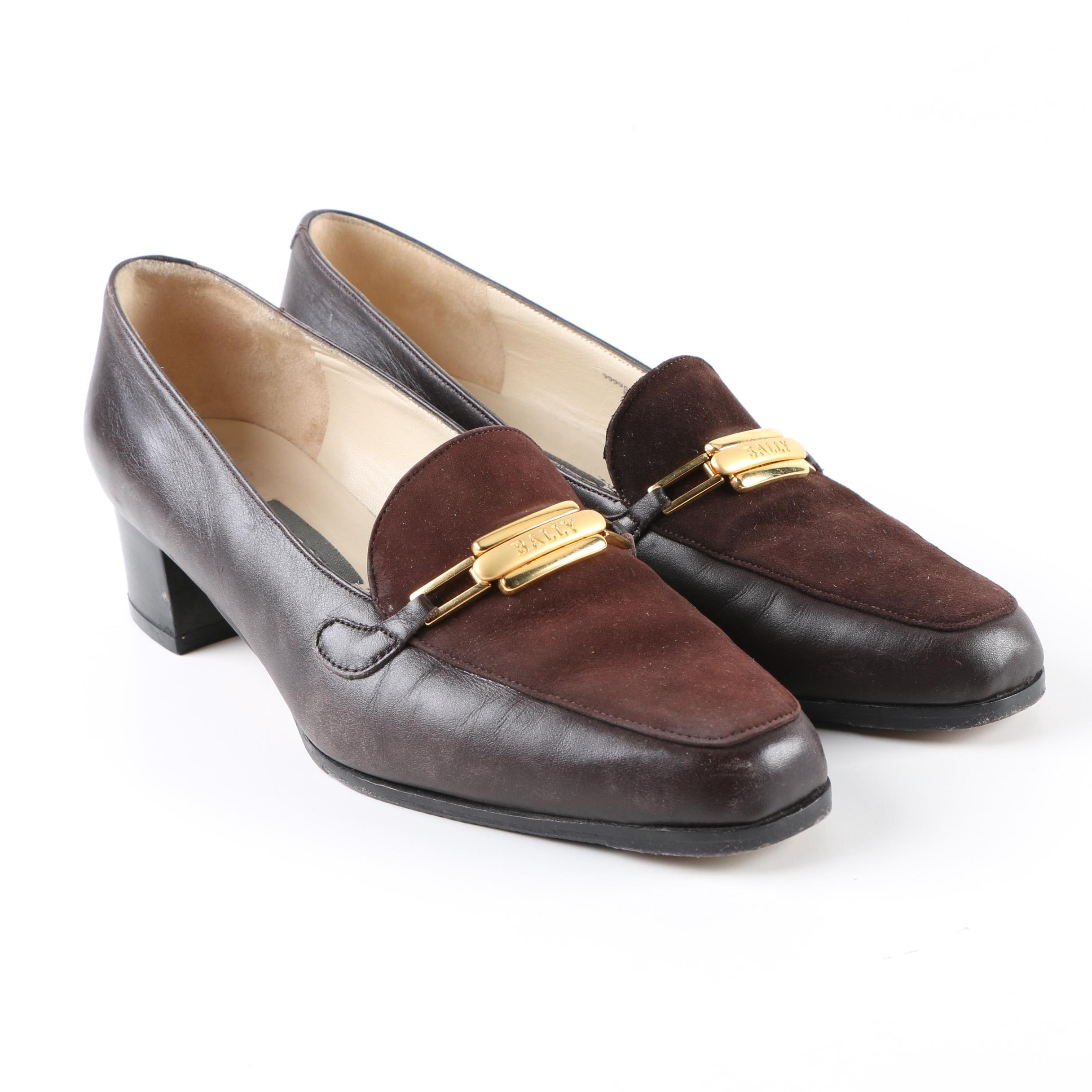 Women's Bally of Switzerland Espresso Brown Leather and Suede Loafers