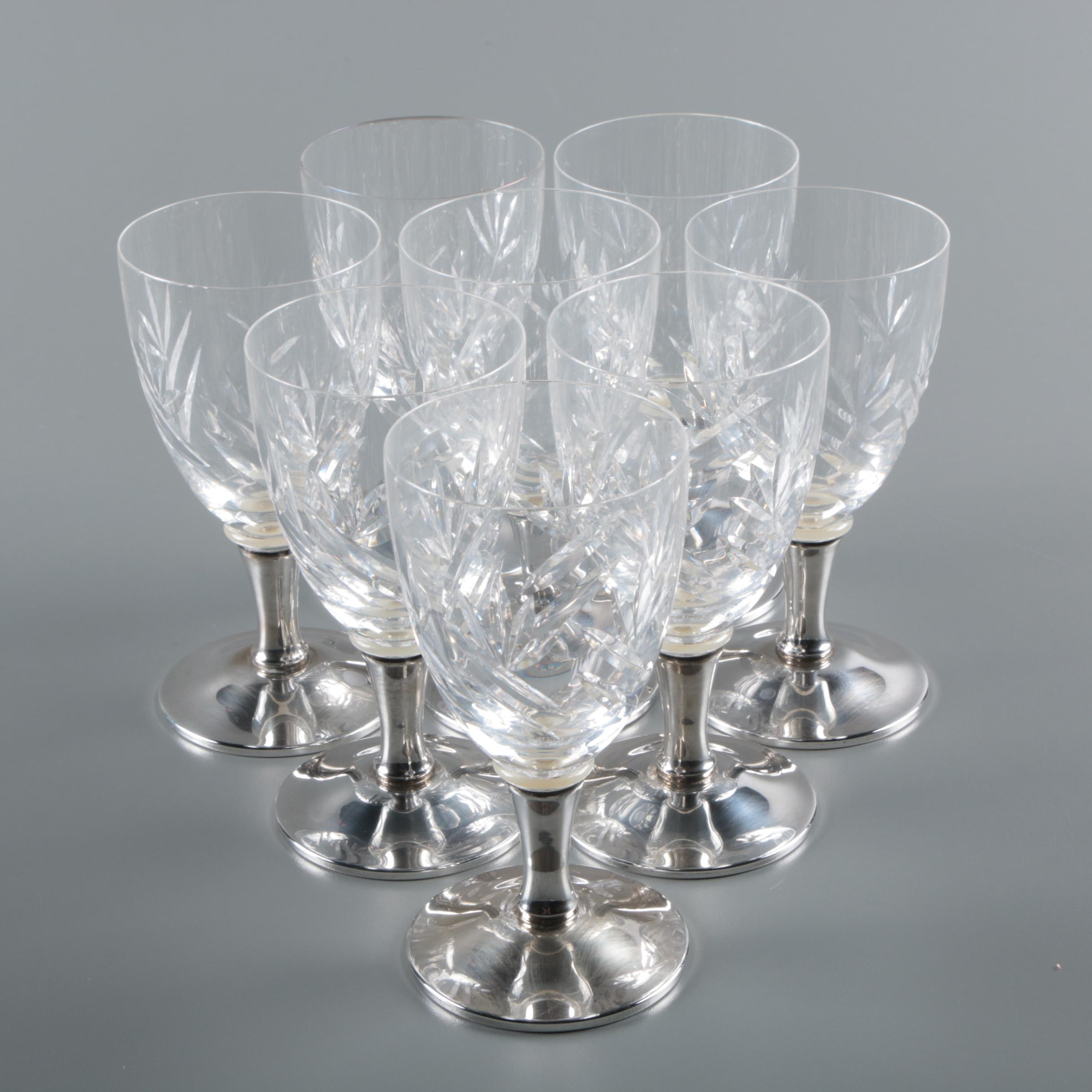 Vintage Gorham Crystal and Weighted Sterling Silver Wine Glasses