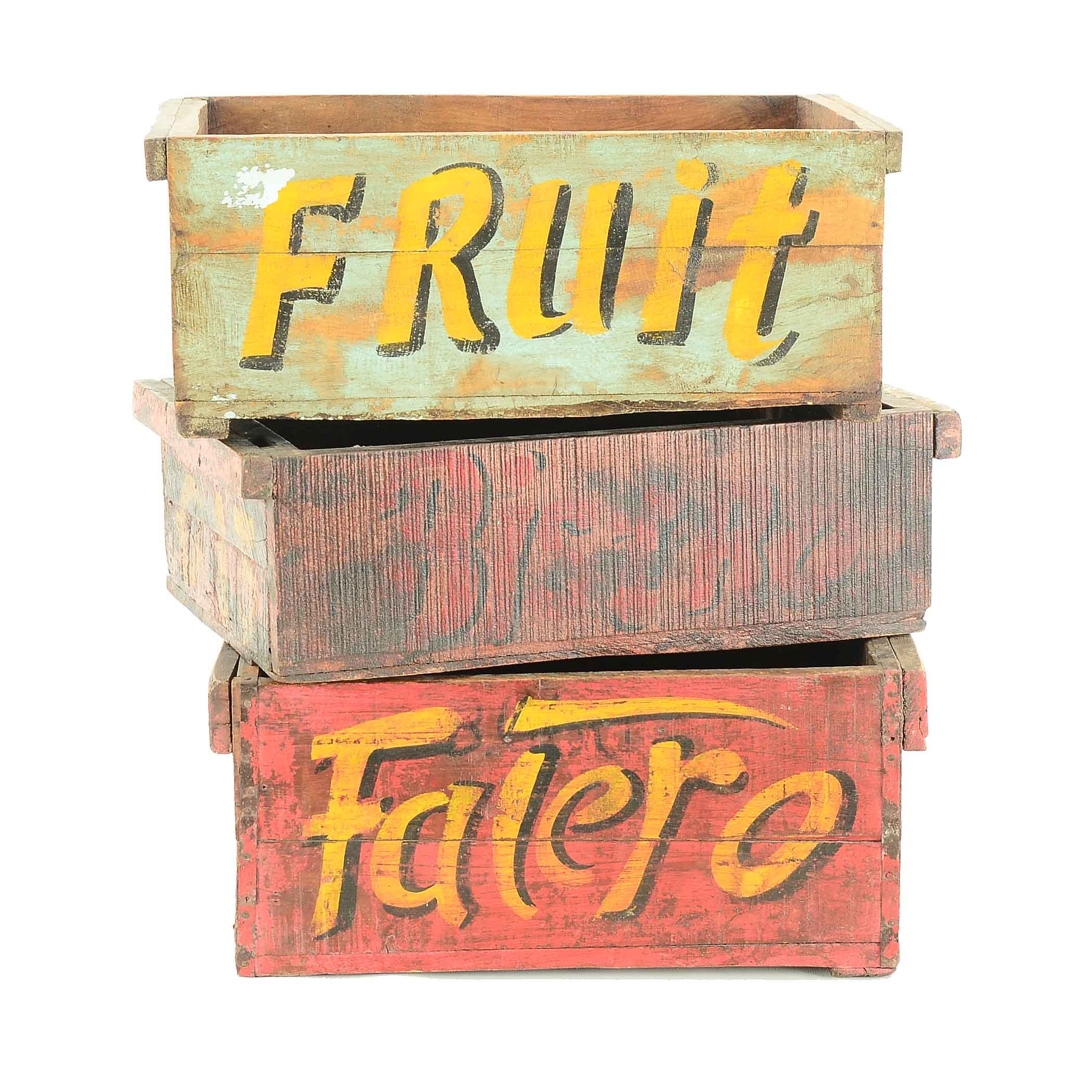 Three Painted Wooden Crates