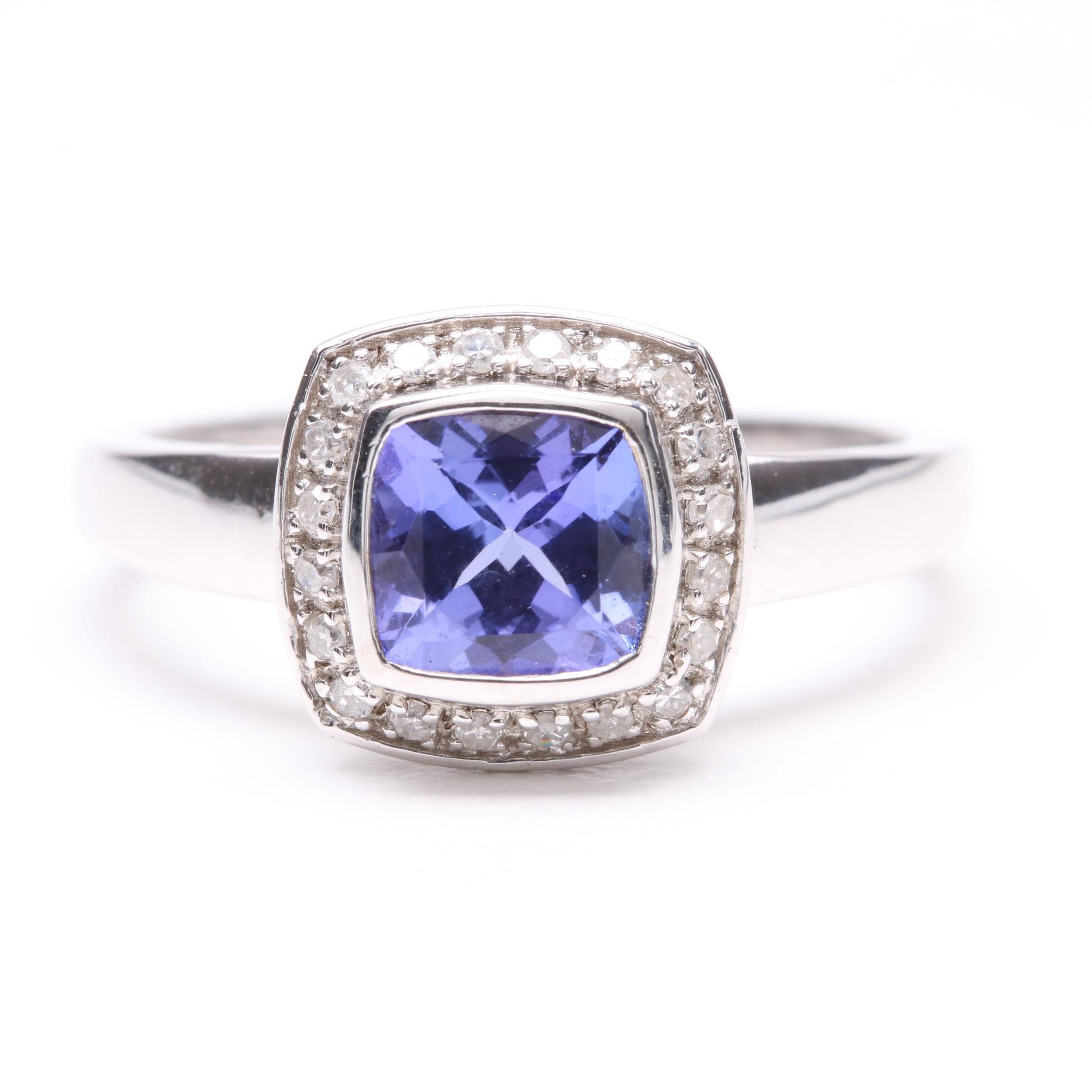 18K White Gold Tanzanite and Diamond Ring