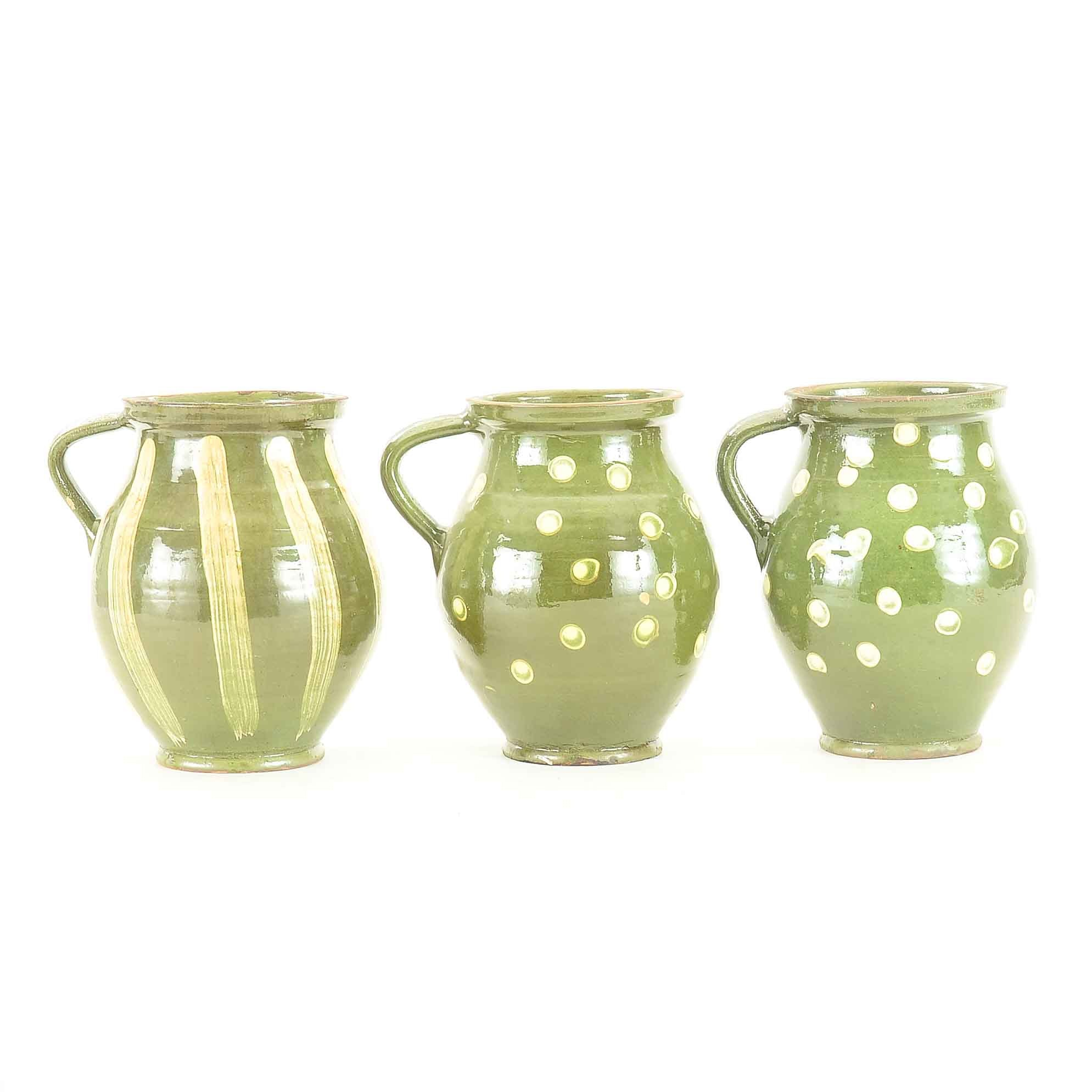 Hand Thrown French-Style Earthenware Water Jugs