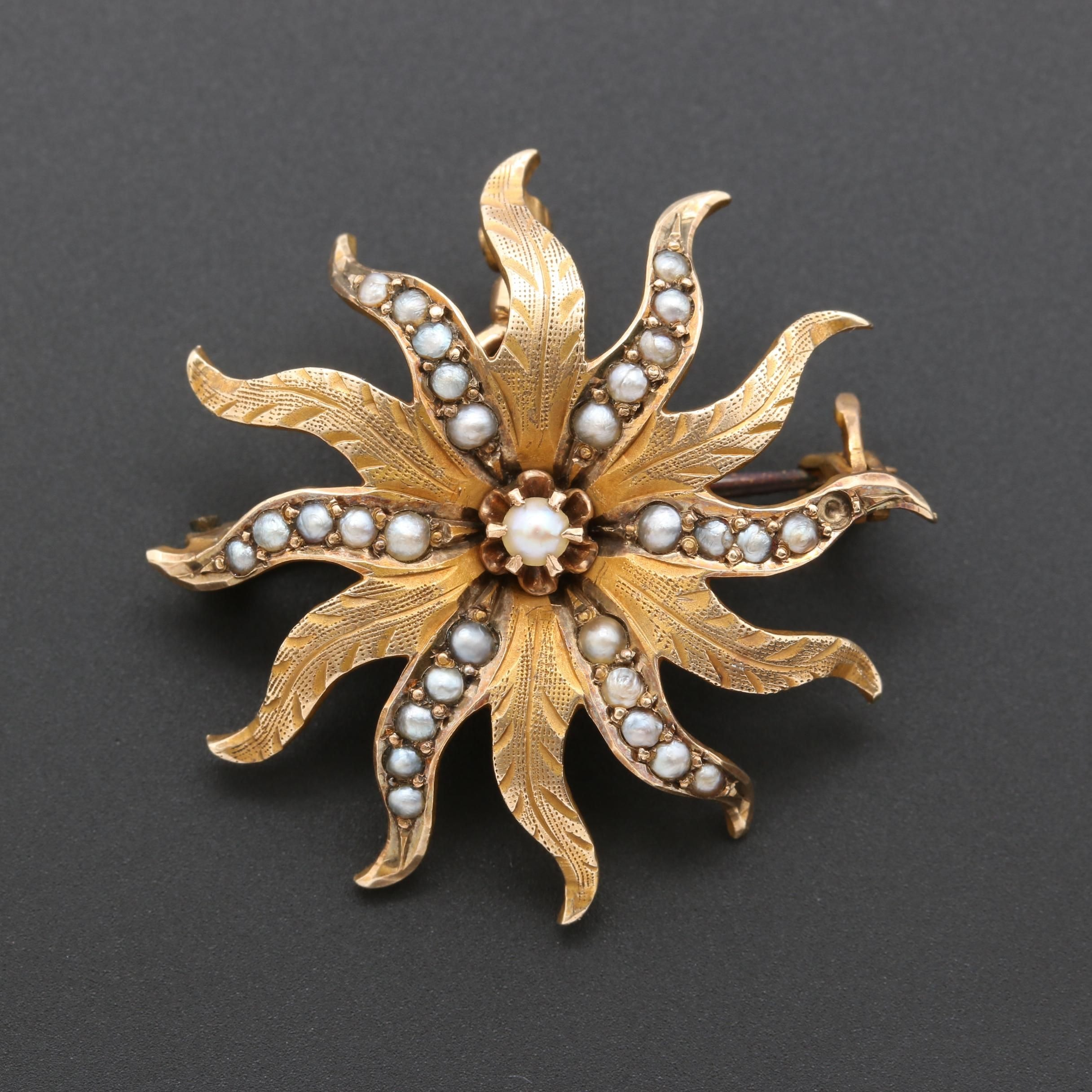 Victorian 10K Yellow Gold Pearl Brooch