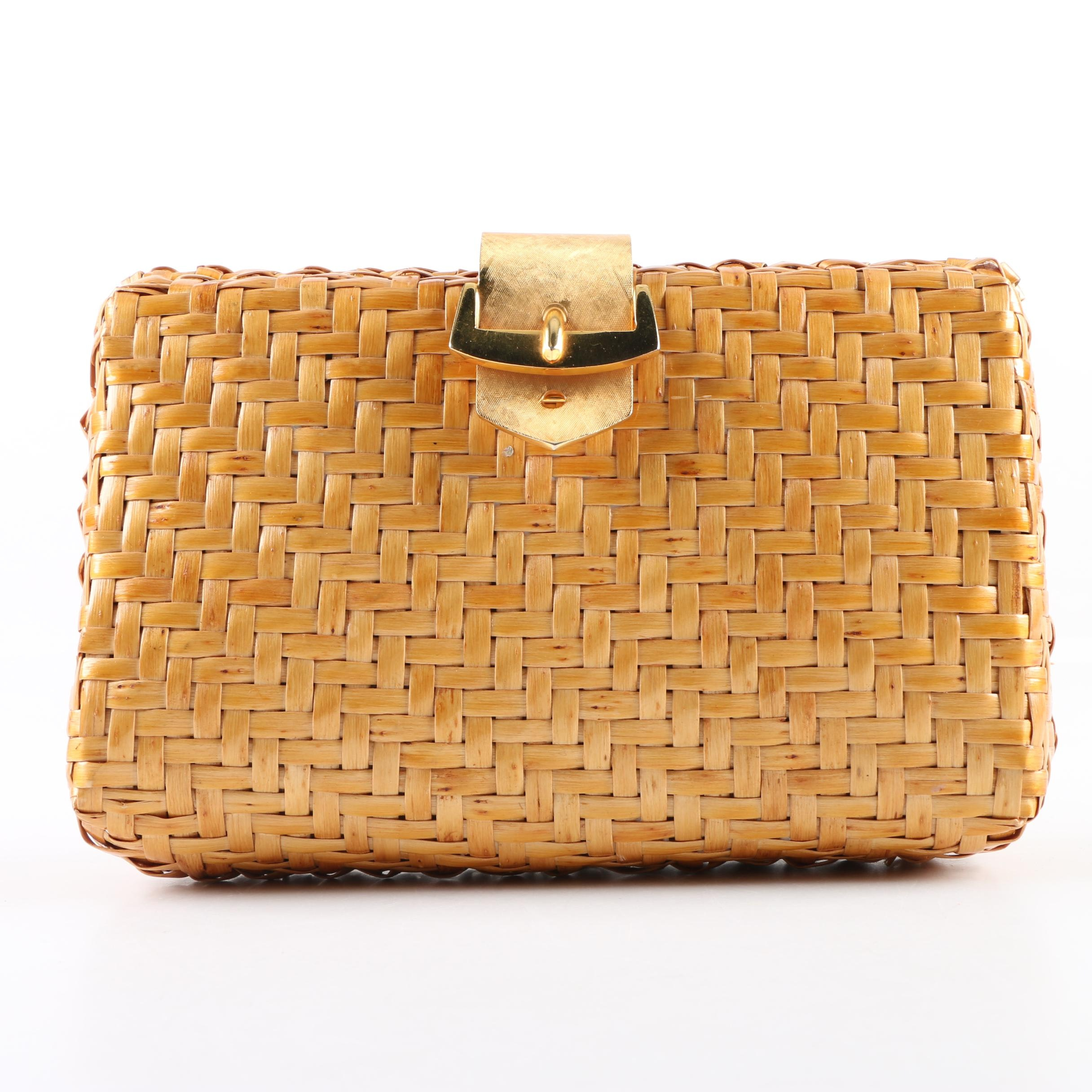 1980s Vintage Rodo Golden Weave Clutch, Made in Italy