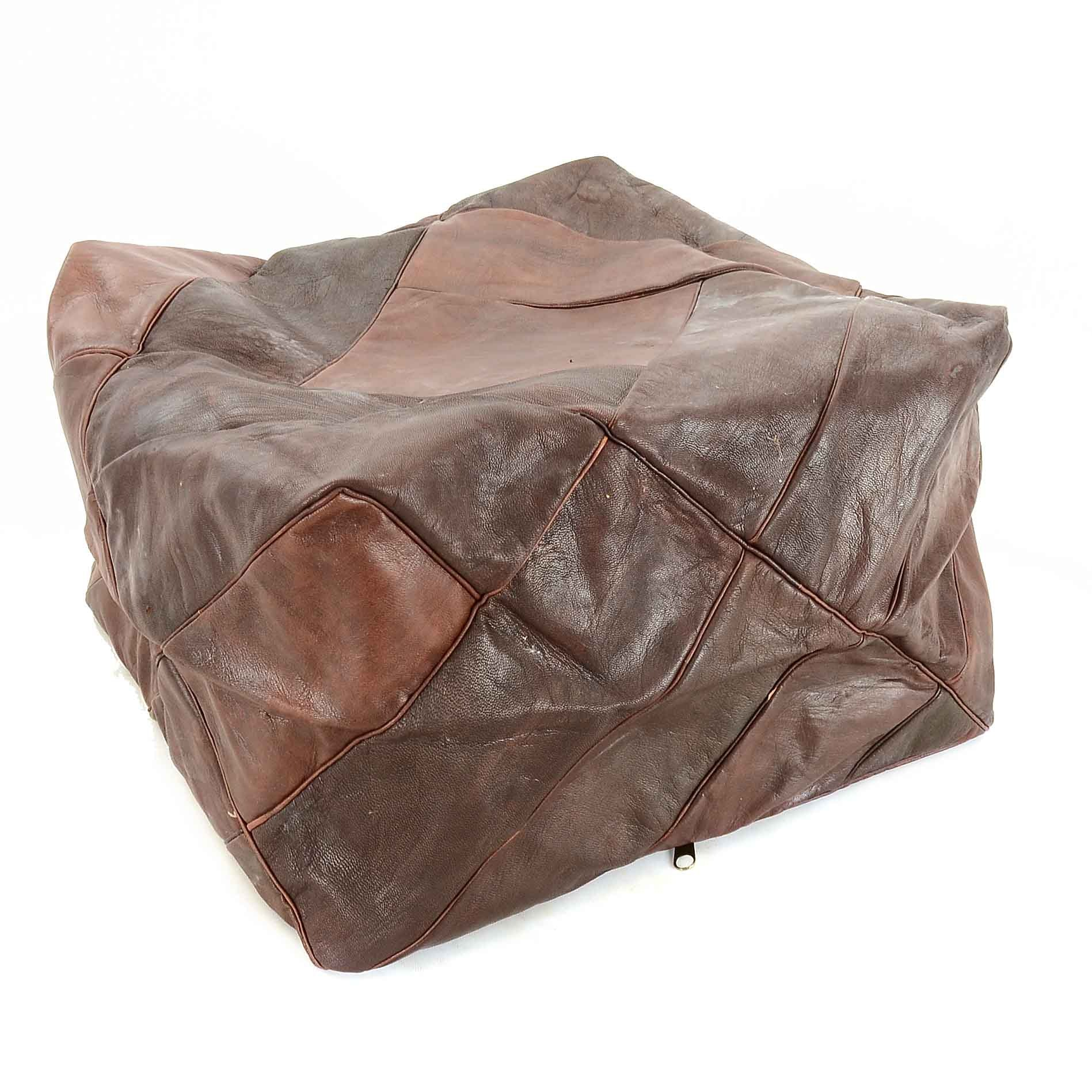 Square Leather Pouf Cover