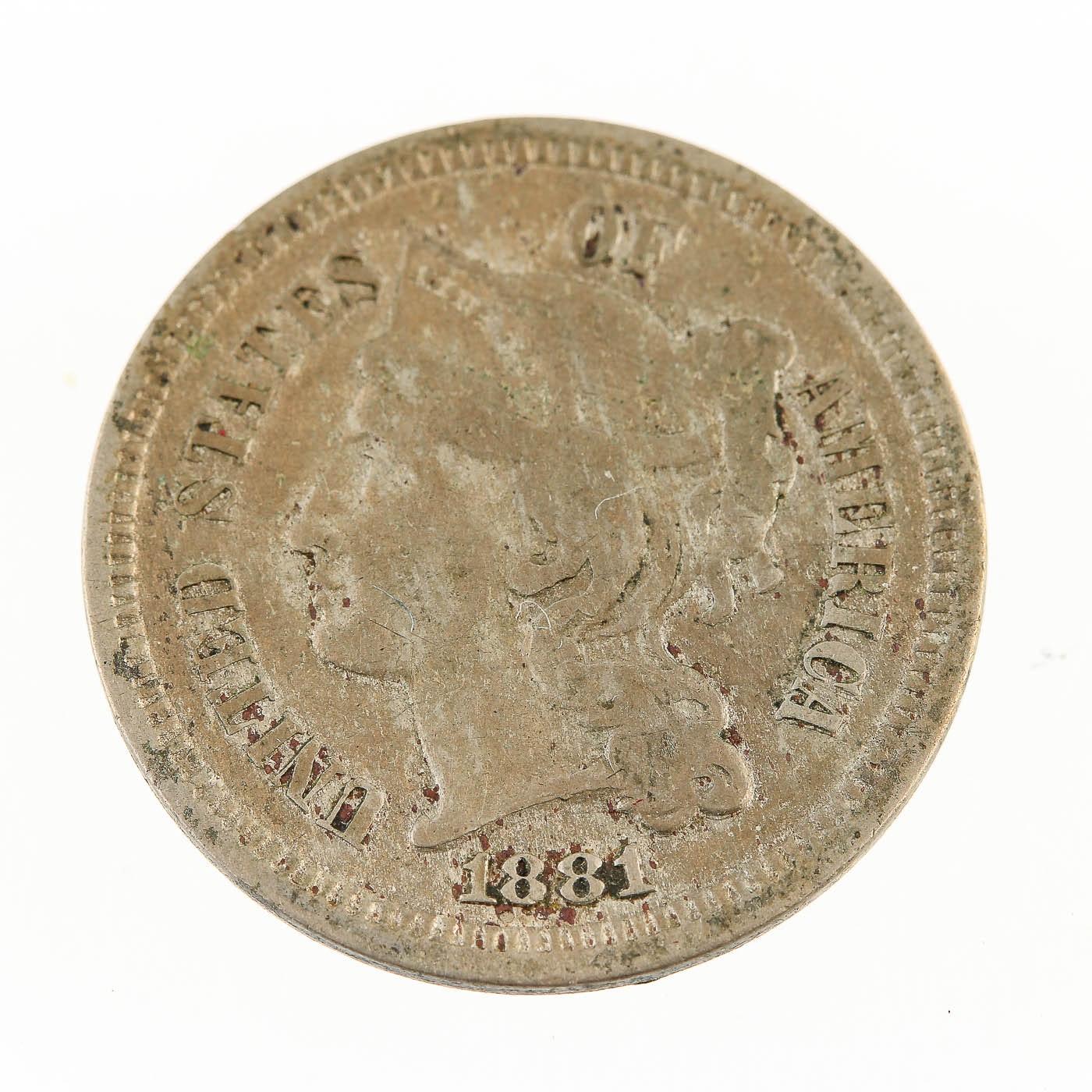 1881 Three Cent Nickel