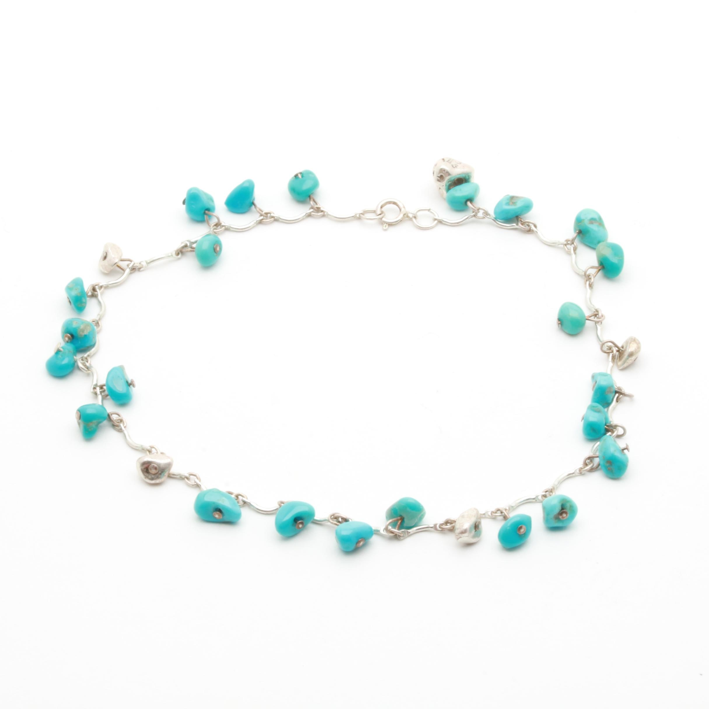 Sterling Silver Turquoise Anklet