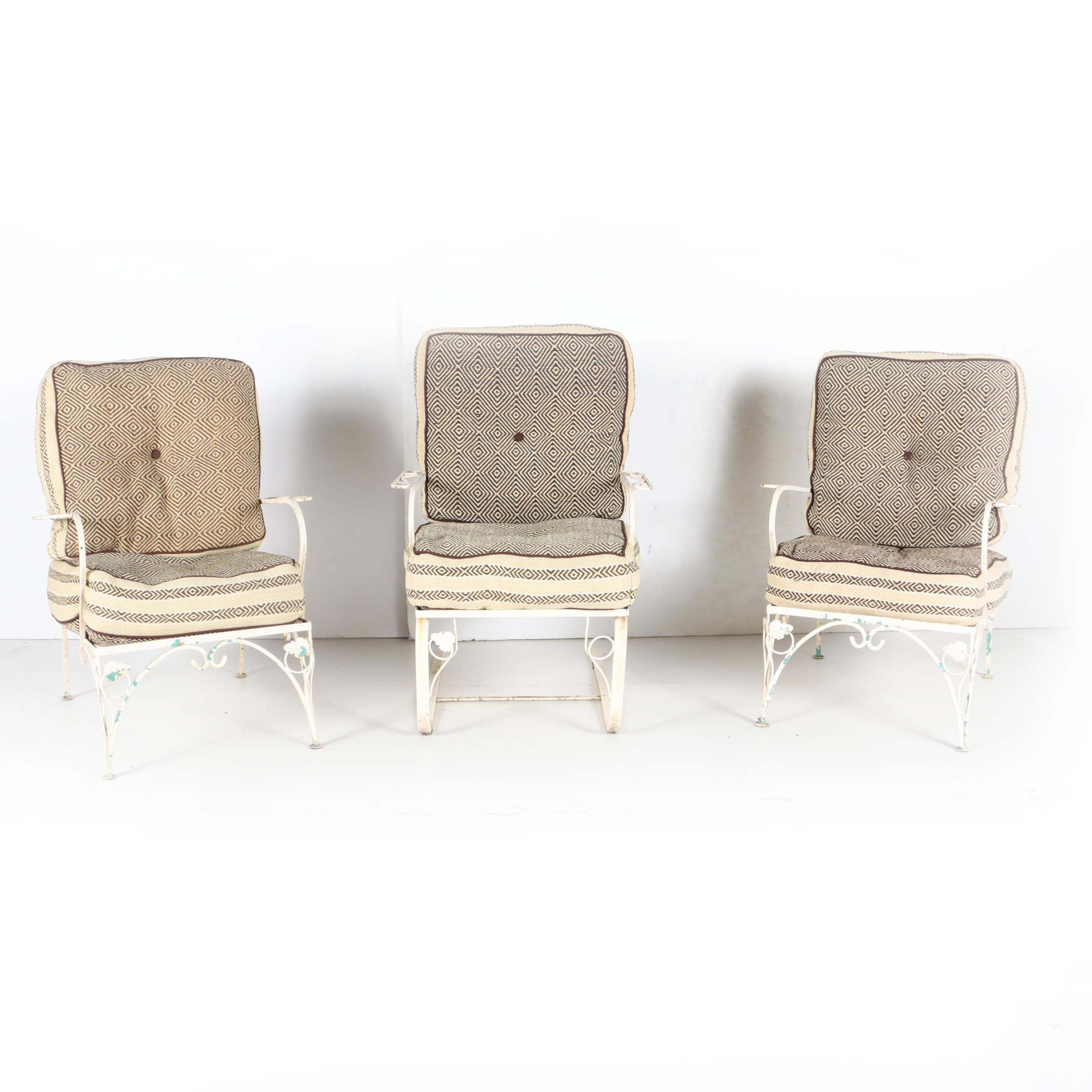 White Metal Patio Armchairs and Spring Rocker with Bird's Eye Patterned Cushions