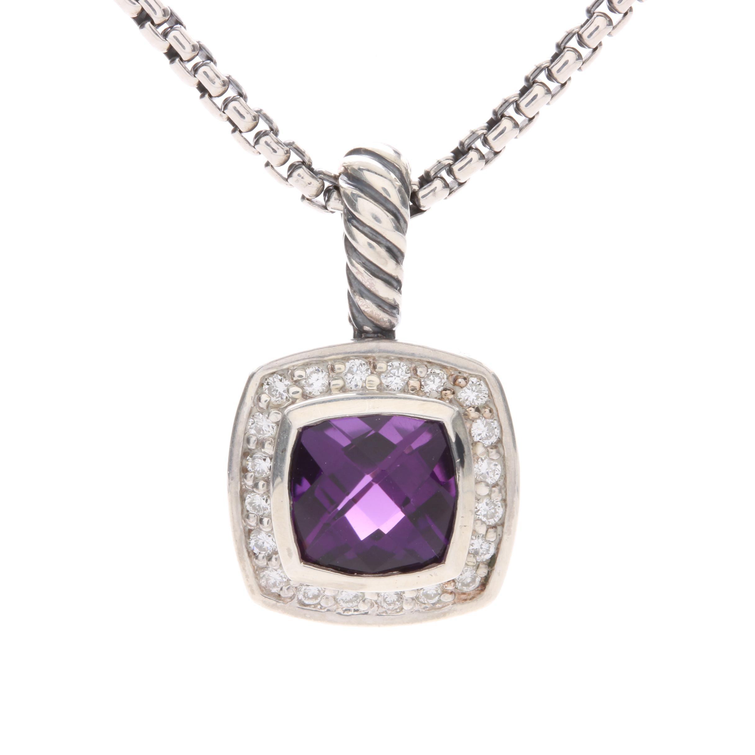 "David Yurman ""Albion"" Sterling Silver Amethyst and Diamond Pendant Necklace"