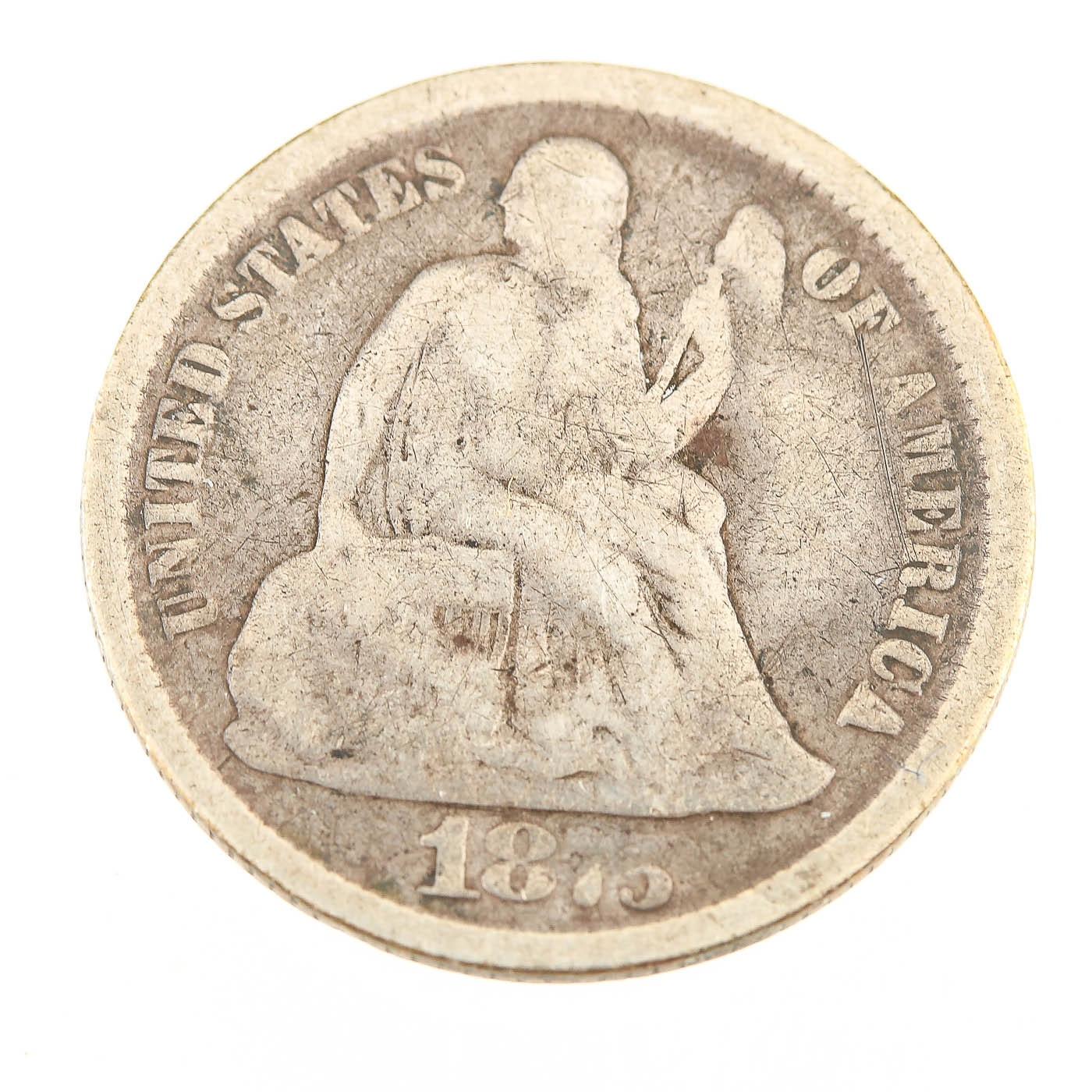 1875 Carson City Seated Liberty Silver Dime