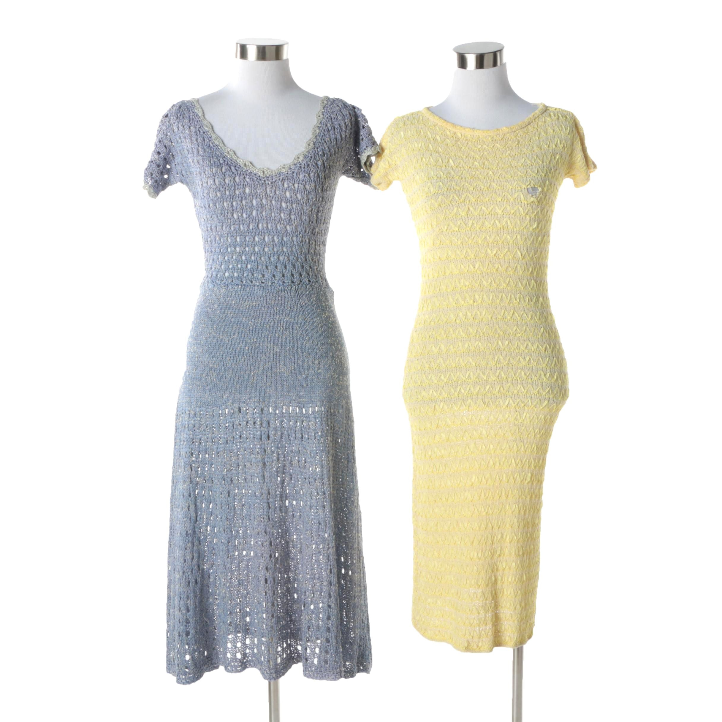 1960s Vintage Custom Hand Crocheted Blue and Yellow Ribbon Dresses