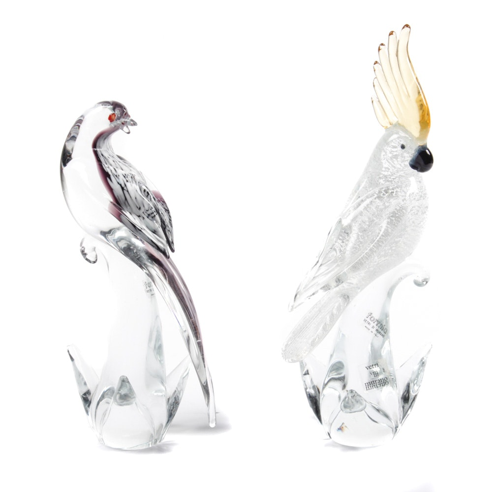 "Formia Murano ""Cockatoo"" and ""Diamond Dove"" Bird Glass Sculptures"