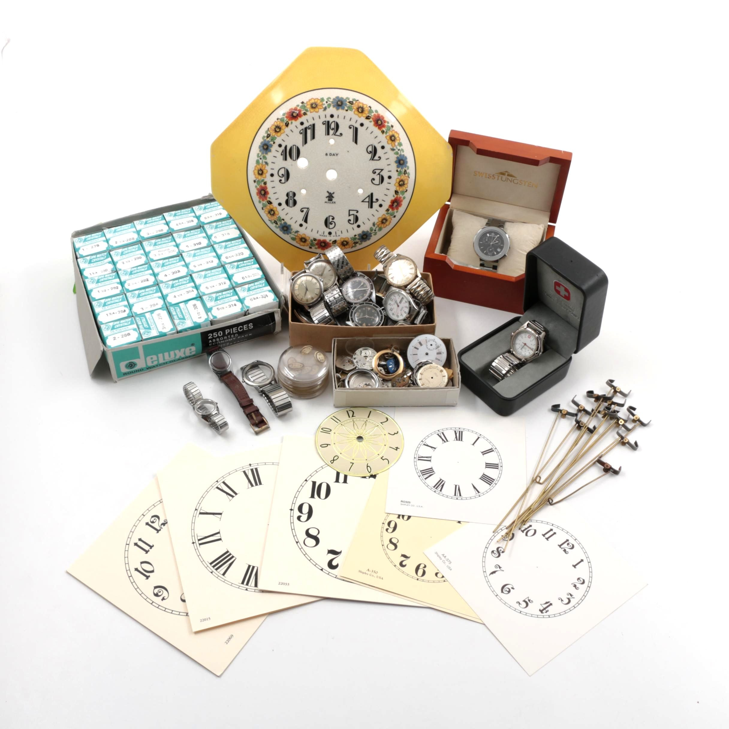 Collection of Assorted Watch and Clock Parts Including Dials and Crystals