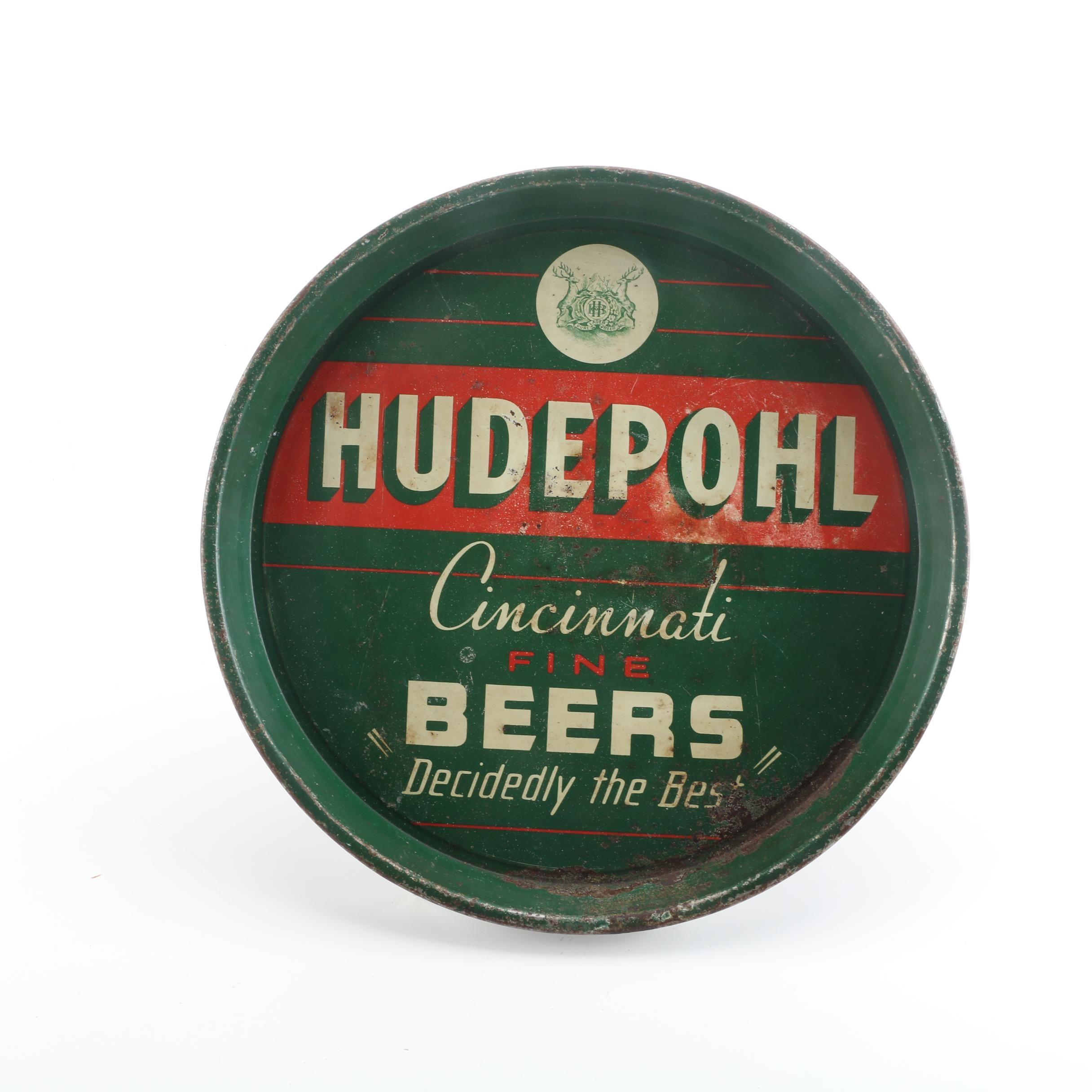 Vintage Hudepohl Beer Green Metal Serving Tray