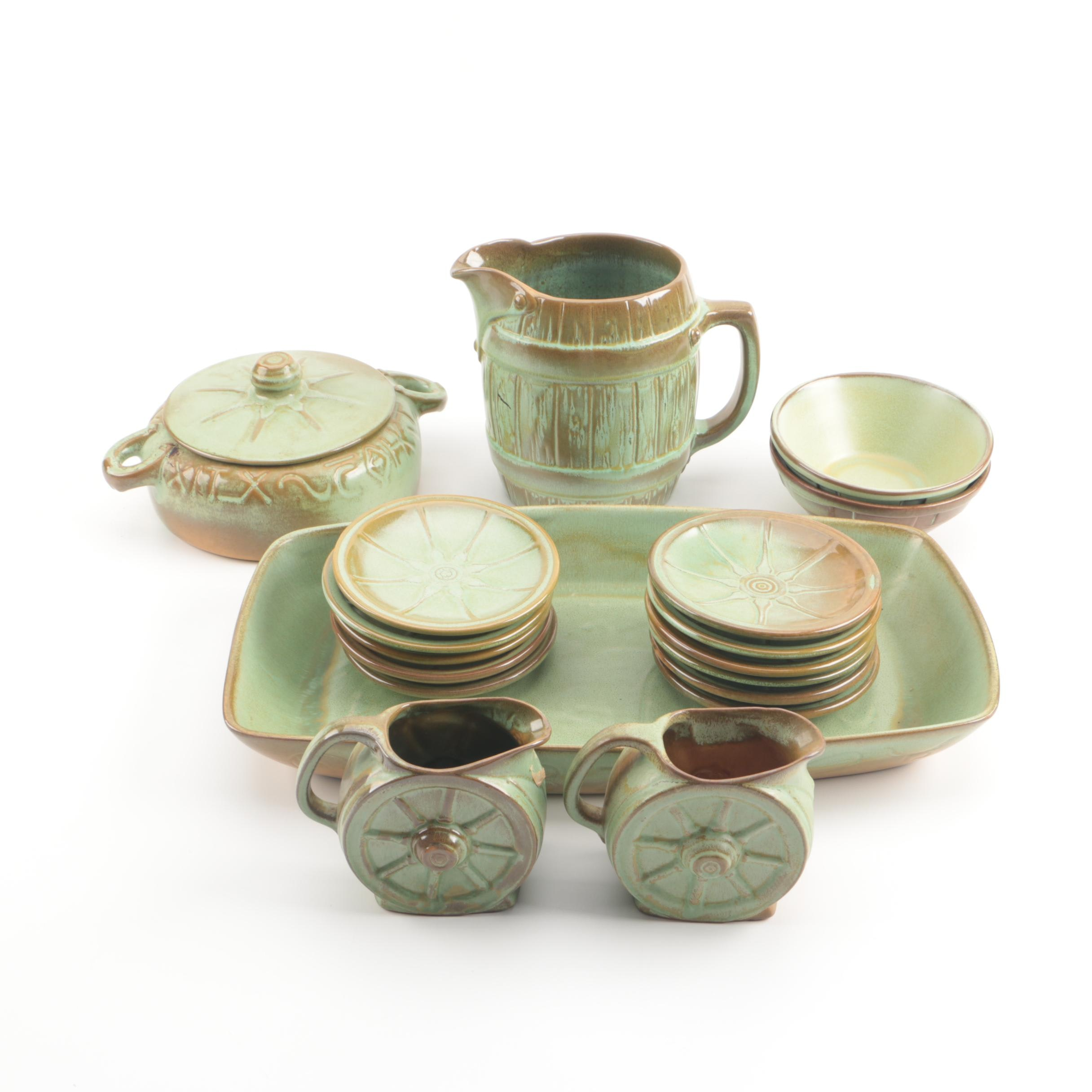 "Frankoma Pottery ""Ranch"" and ""Wagonwheel"" Tableware In Plainsman Green"