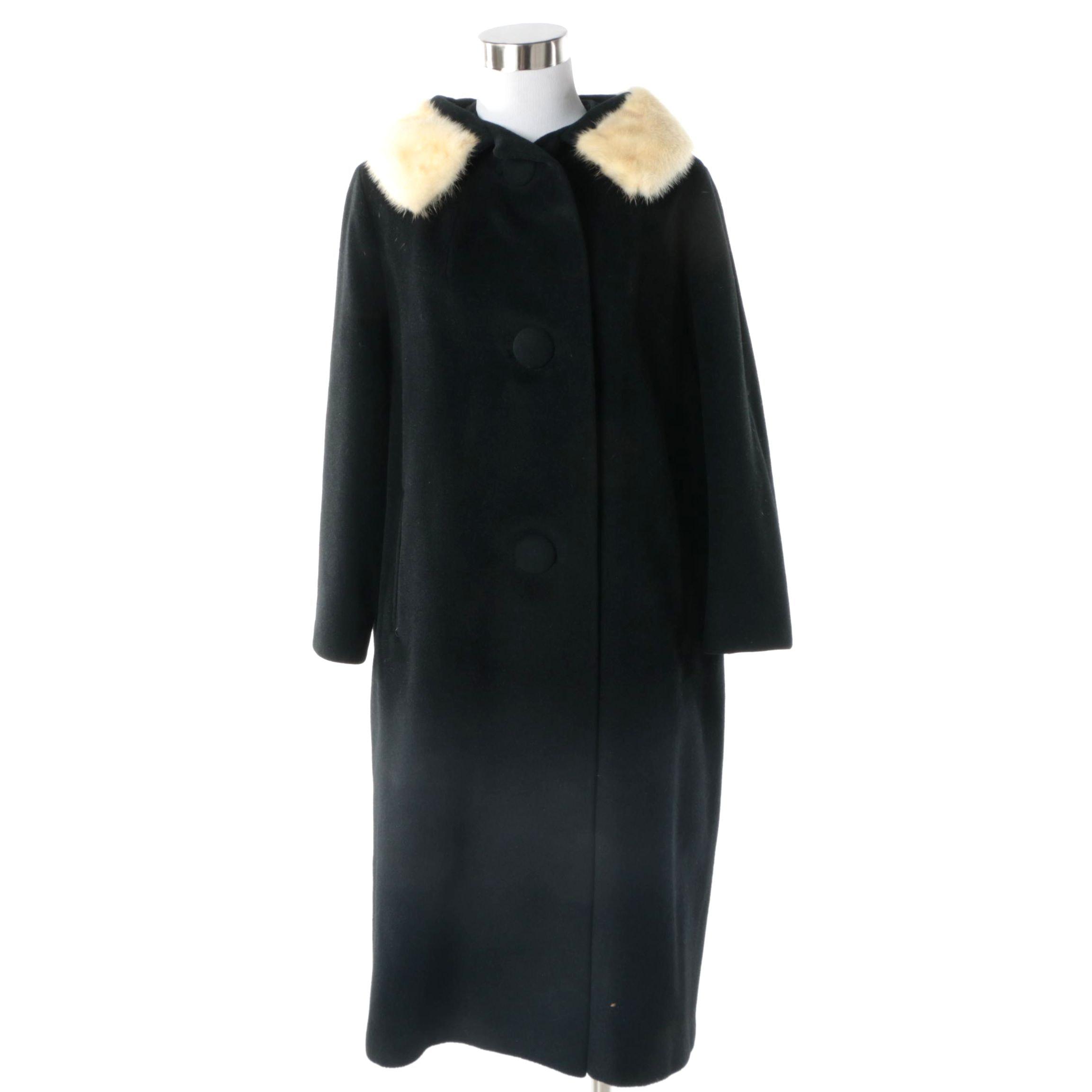 Vintage Dorsé Black Felted Coat with Platinum Mink Fur Collar