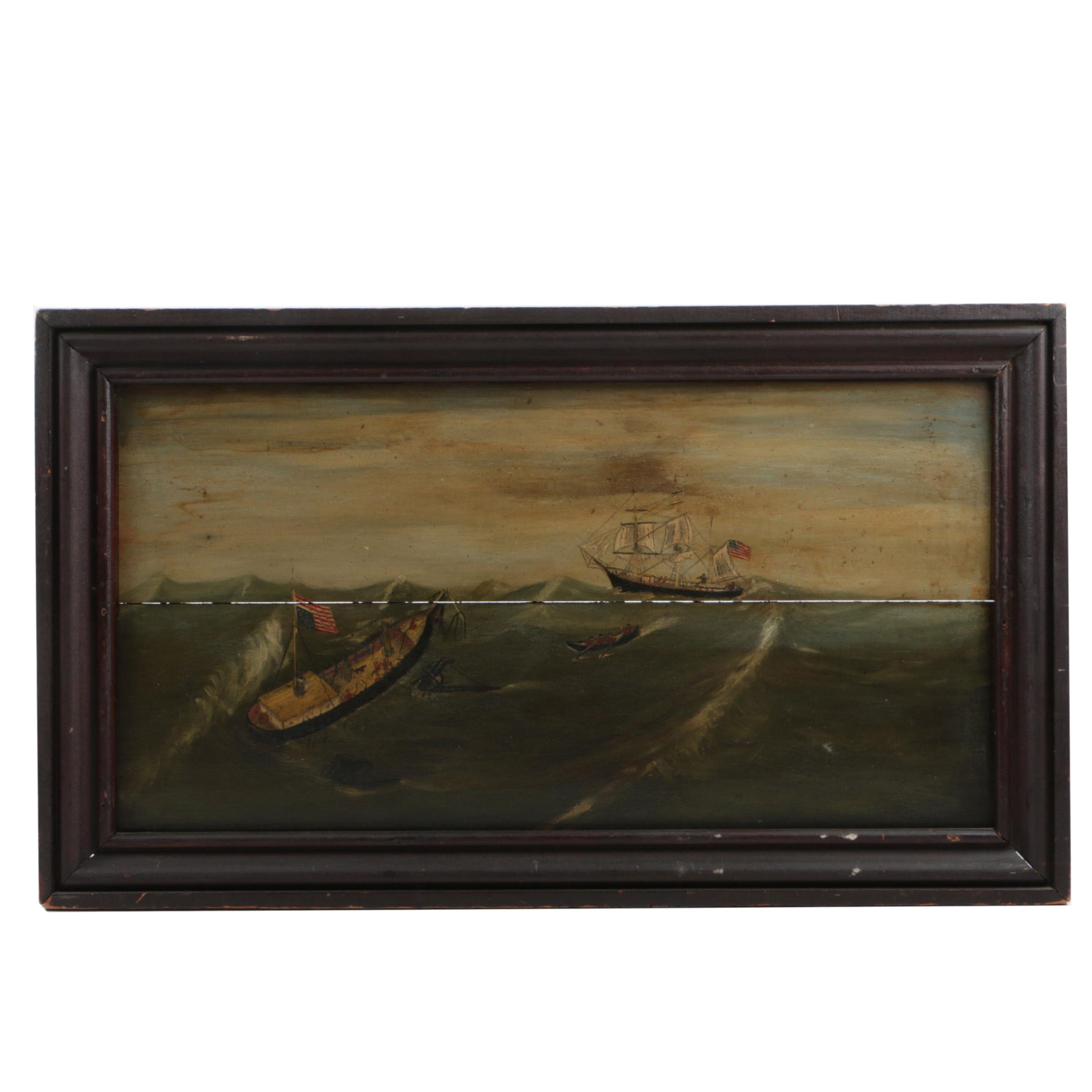 19th Century American School Oil Painting on Panel Whaling Scene