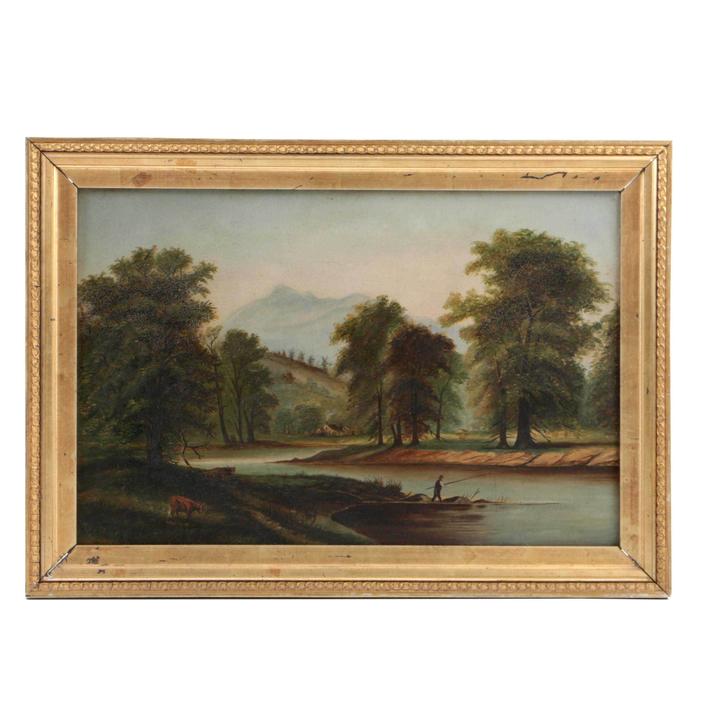 Mid 19th-Century English School Oil Painting on Board of Pastoral Landscape