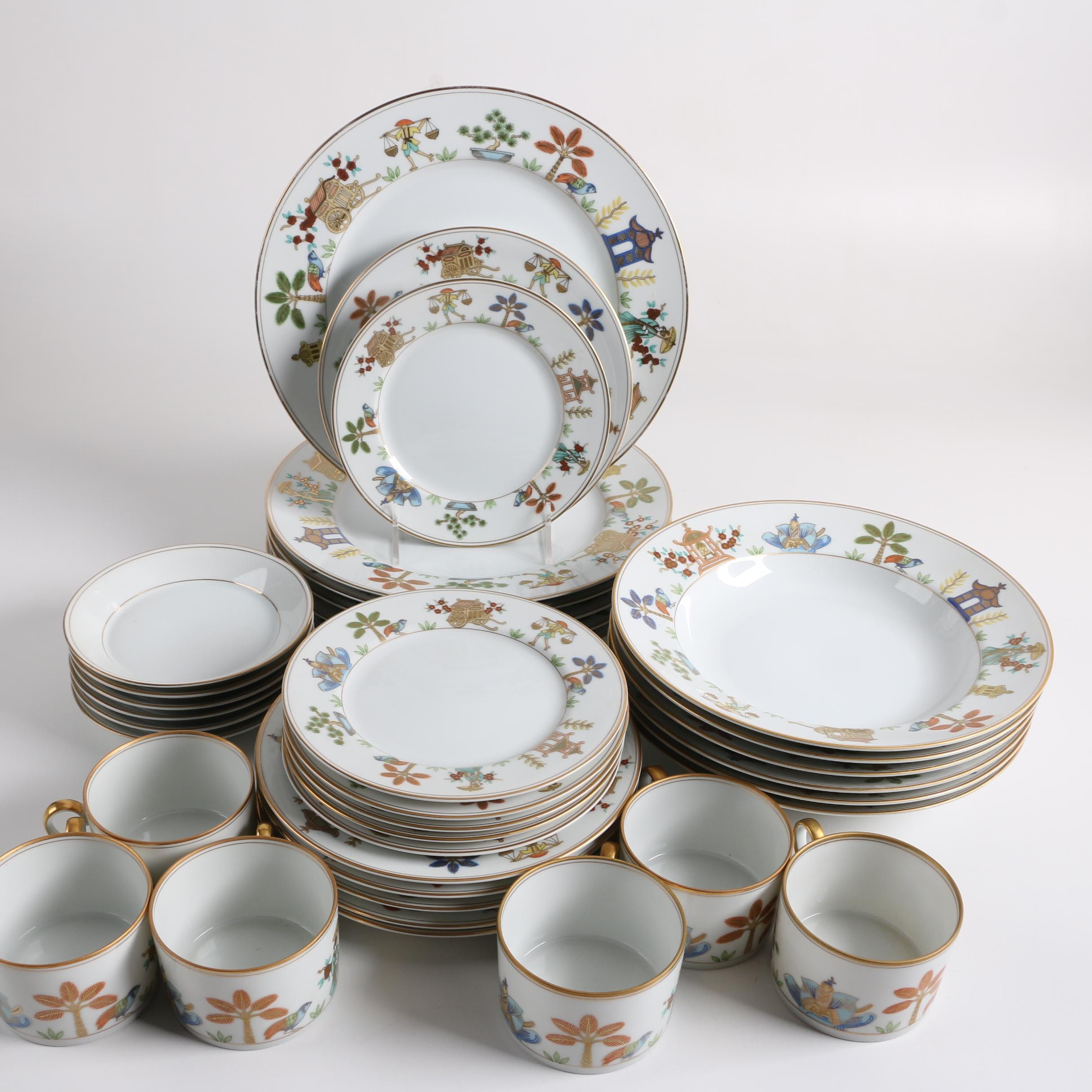 "Fitz and Floyd ""Promenade"" Bone China Dinnerware, c. 1979"