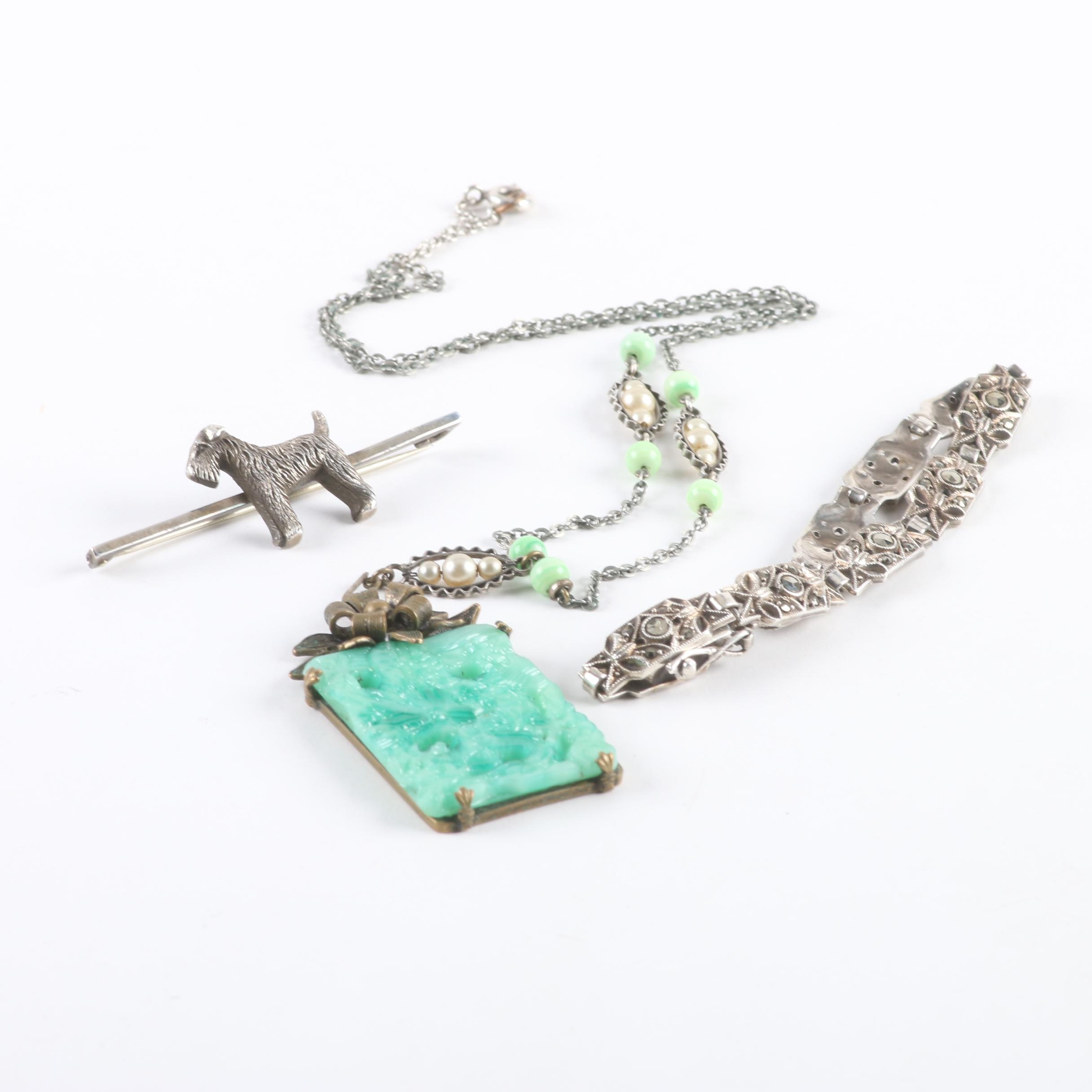 Sterling Silver Jewelry Selection Including Marcasite and Imitation Pearl