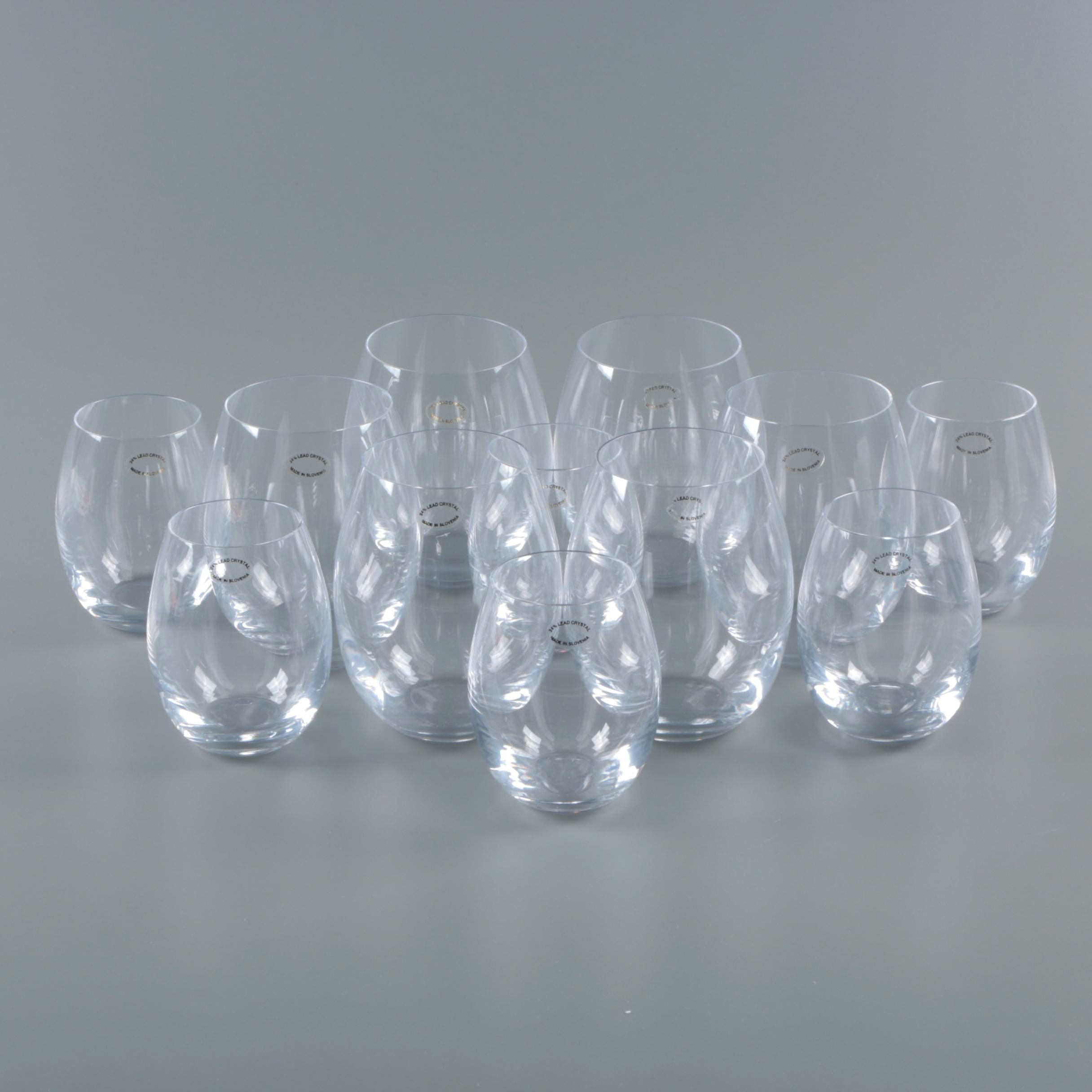 Slovenian Stemless Crystal Wine Glass Sets
