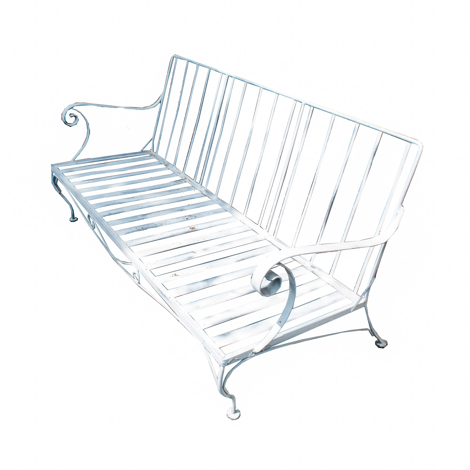 Vintage White Metal Outdoor Loveseat