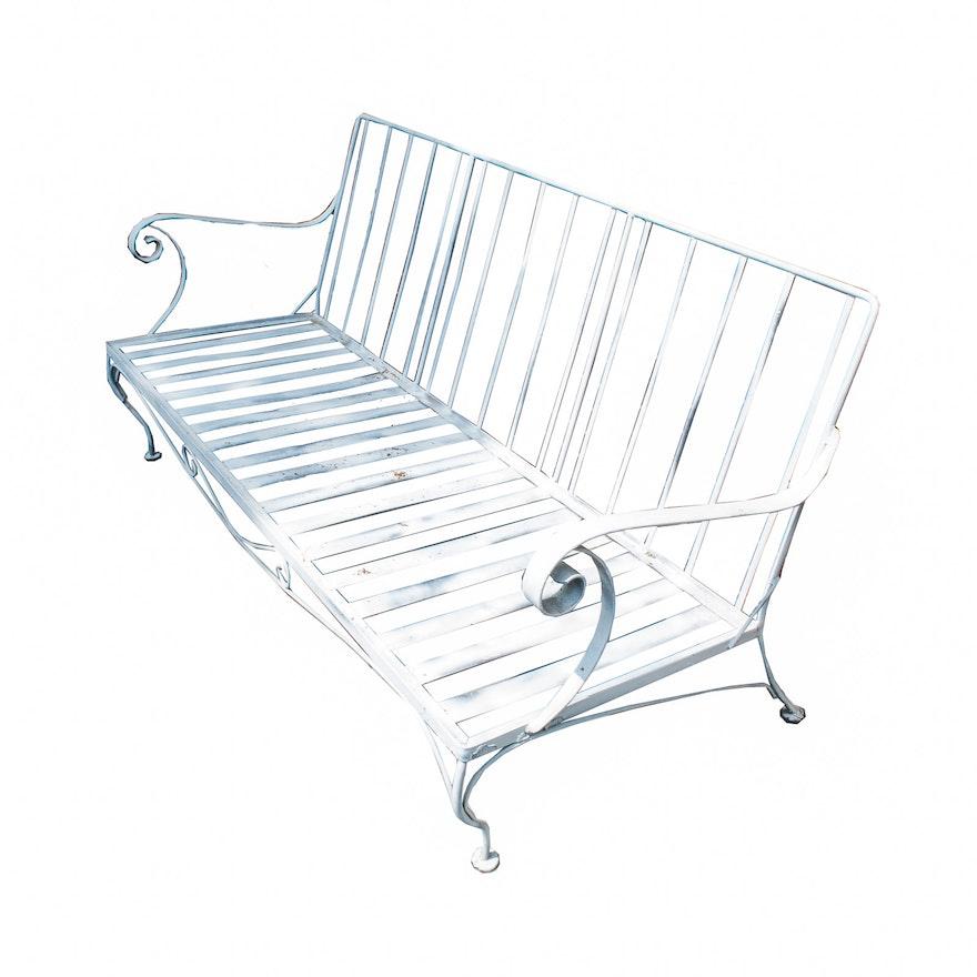 Stupendous Vintage White Metal Outdoor Loveseat Bralicious Painted Fabric Chair Ideas Braliciousco
