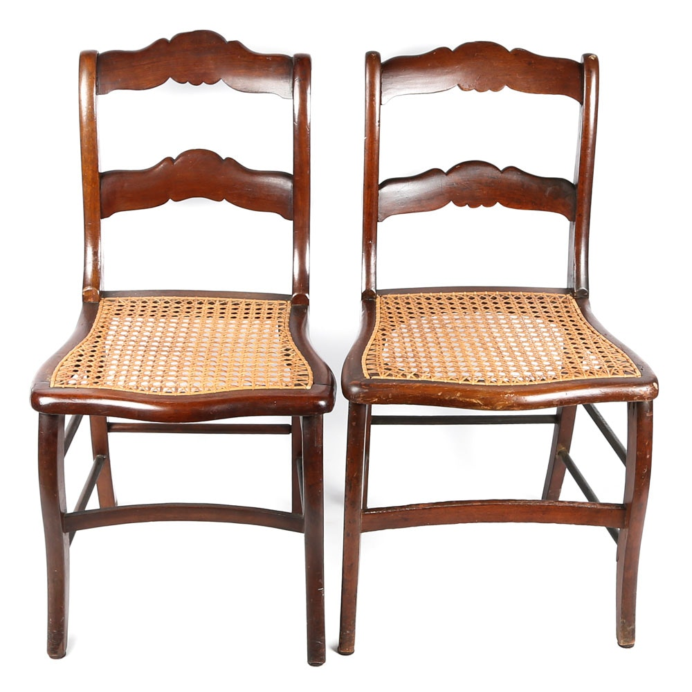 Antique Ladderback Chairs with Caned Seats