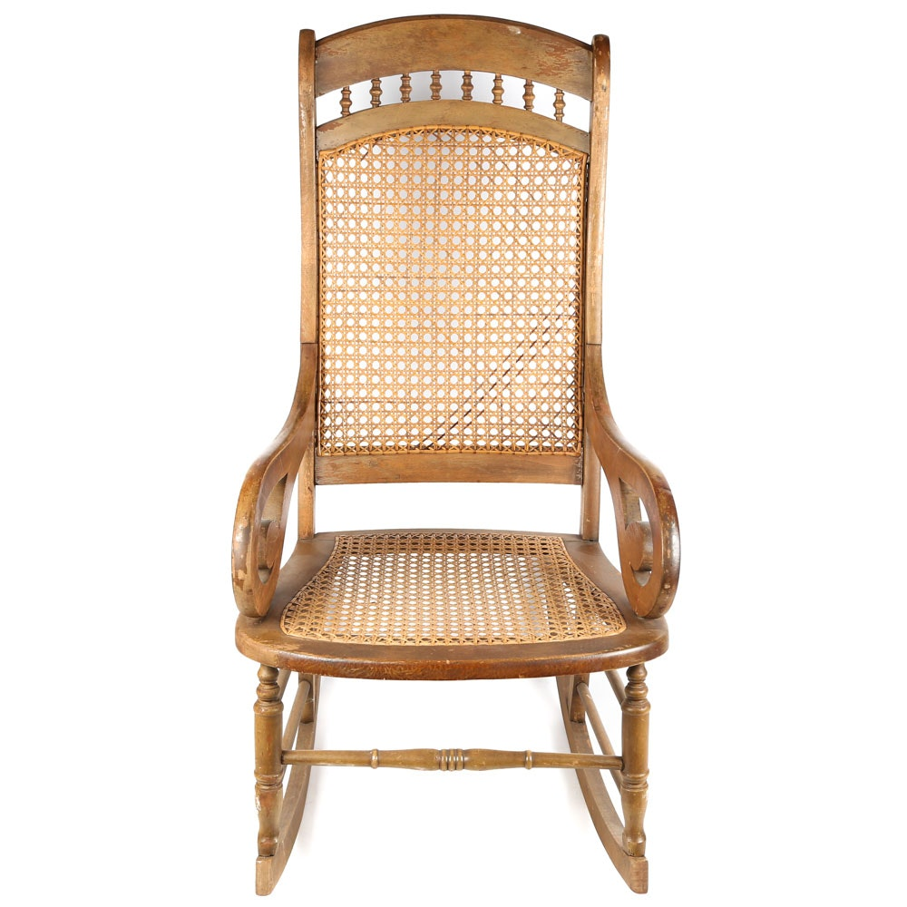 Antique Lincoln Style Rocker with Caned Accents