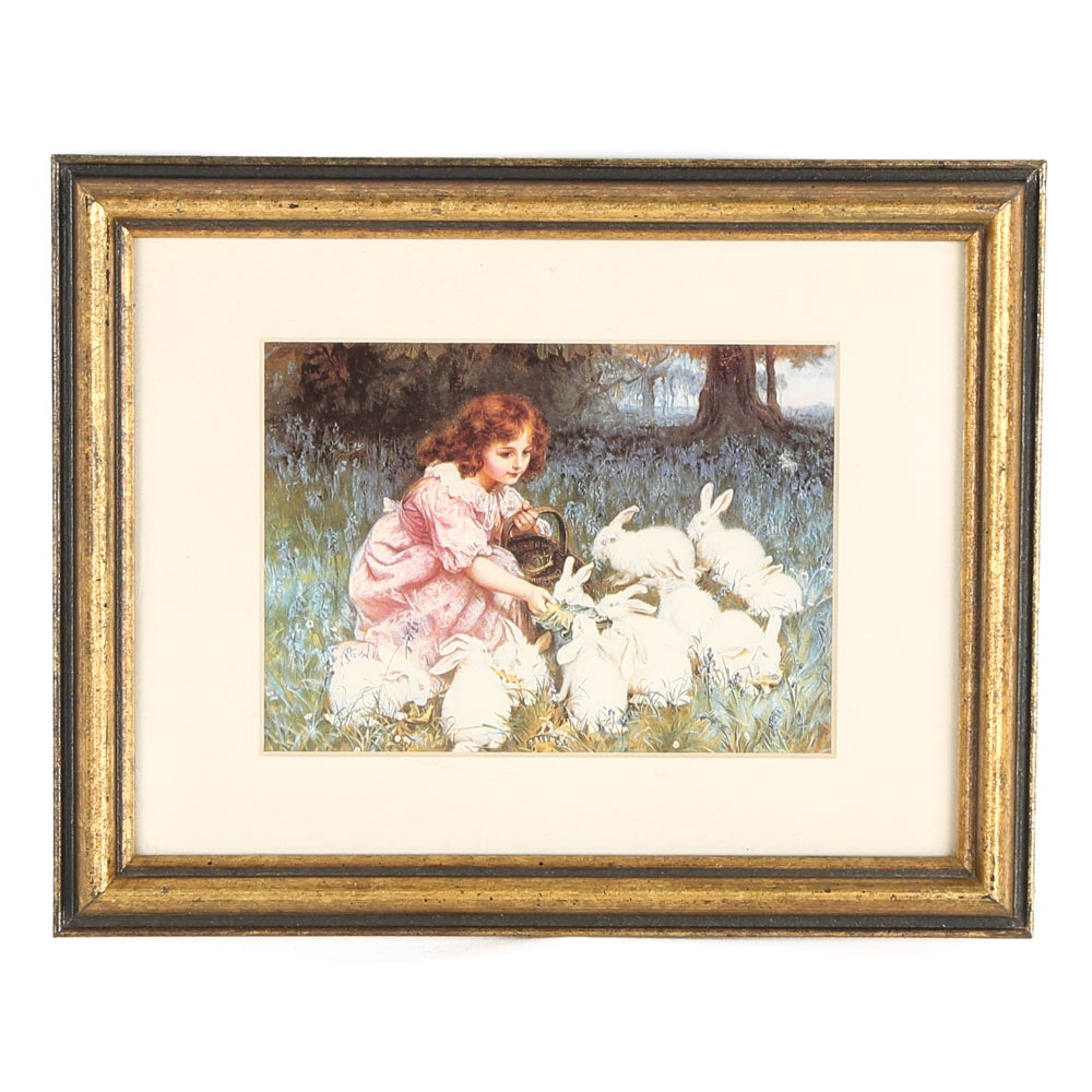 "After Frederick Morgan Offset Lithograph ""Feeding the Rabbits"""