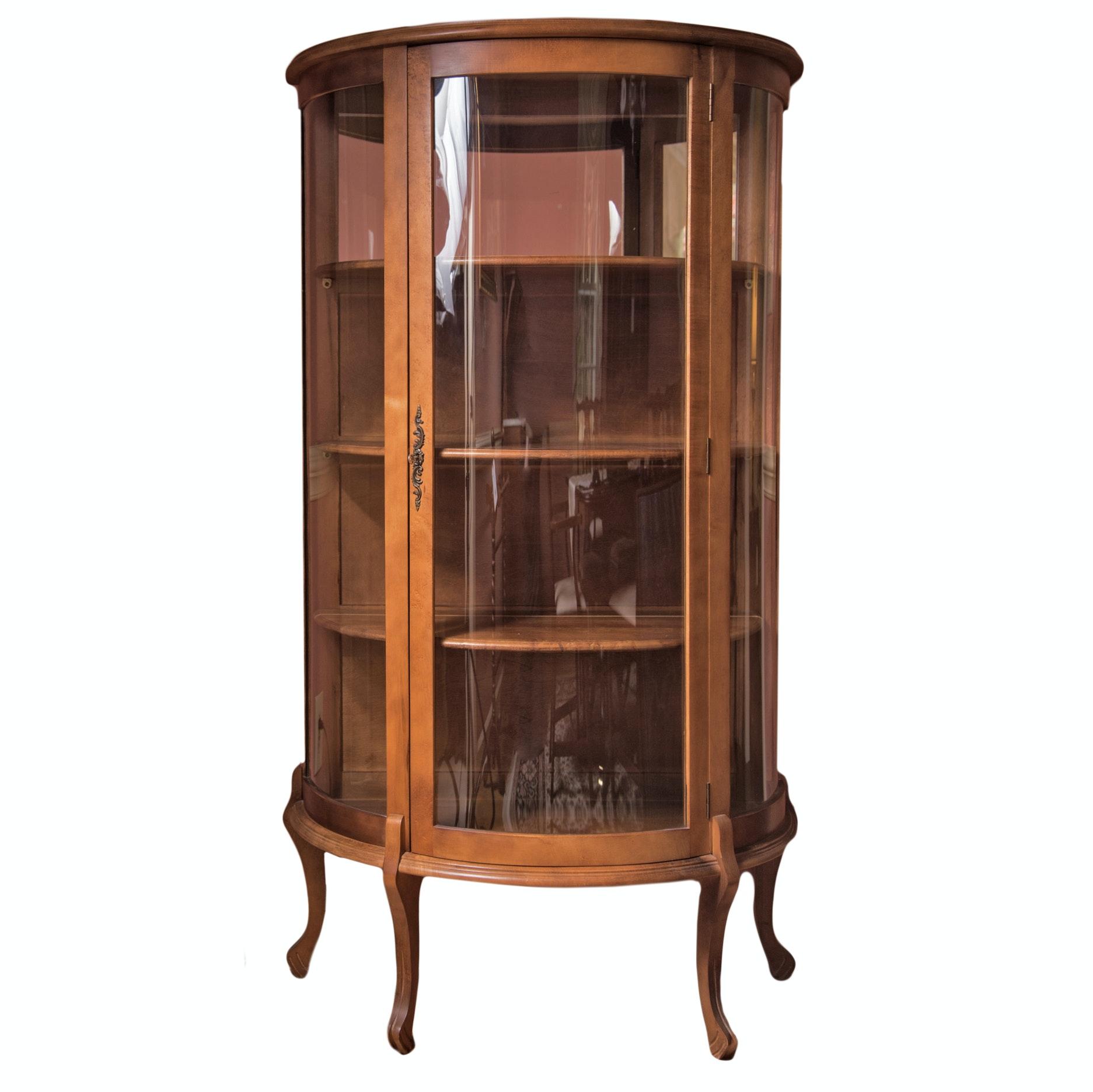 Cherry Demilune Curio Cabinet