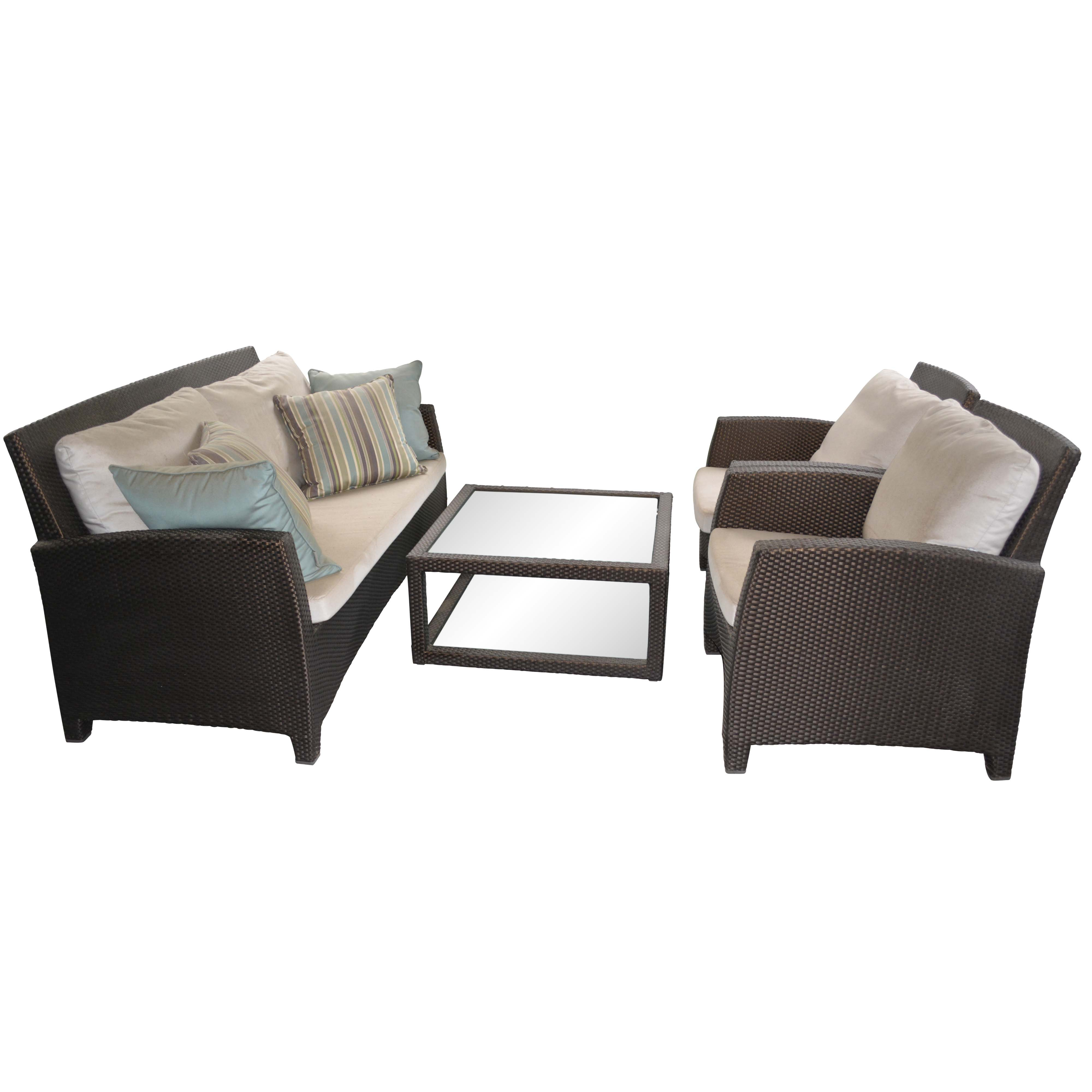 Janus Et Cie Four Piece Brown Wicker Style Patio Furniture Set ...