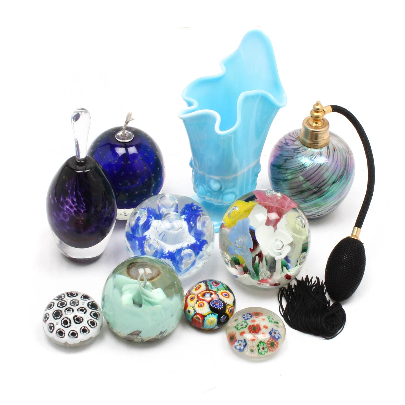 Art Glass Oil Lamp, Paperweights, Perfume Bottles and Vase